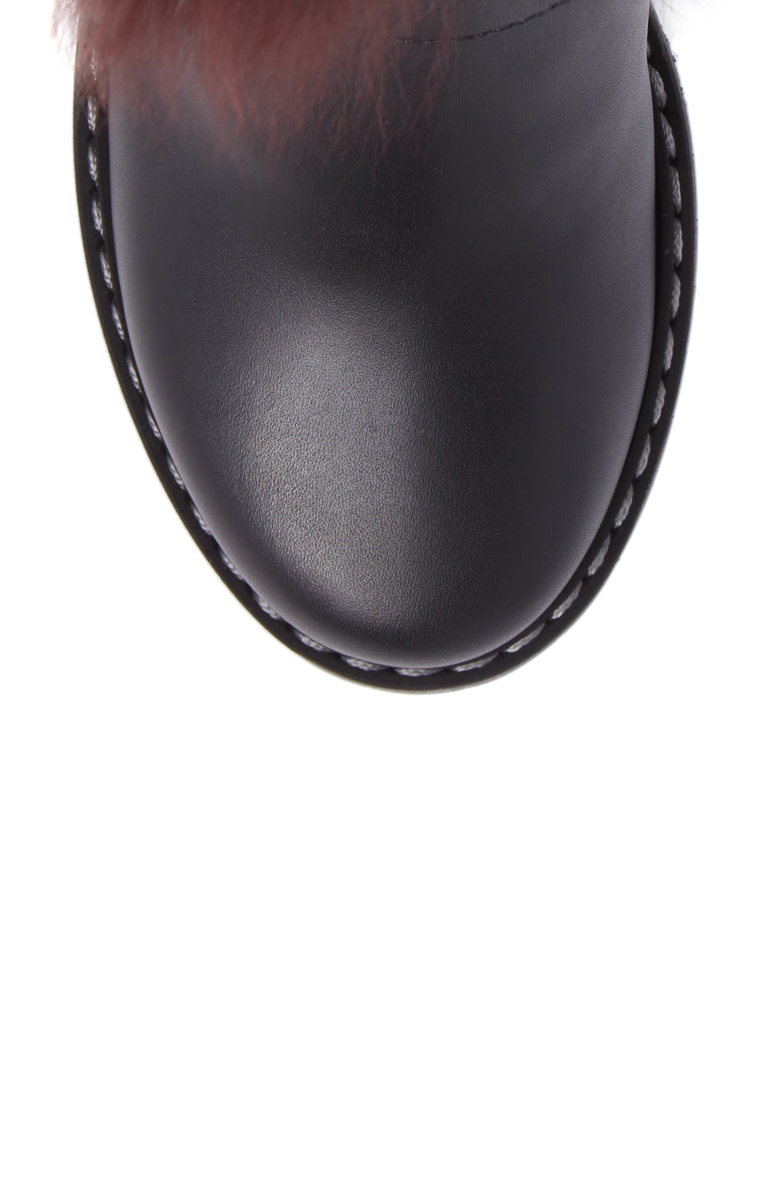 Caroline Genuine Alpaca Fur & Genuine Shearling Engineer Boot,                             Alternate thumbnail 4, color,                             Black/ Bordeaux