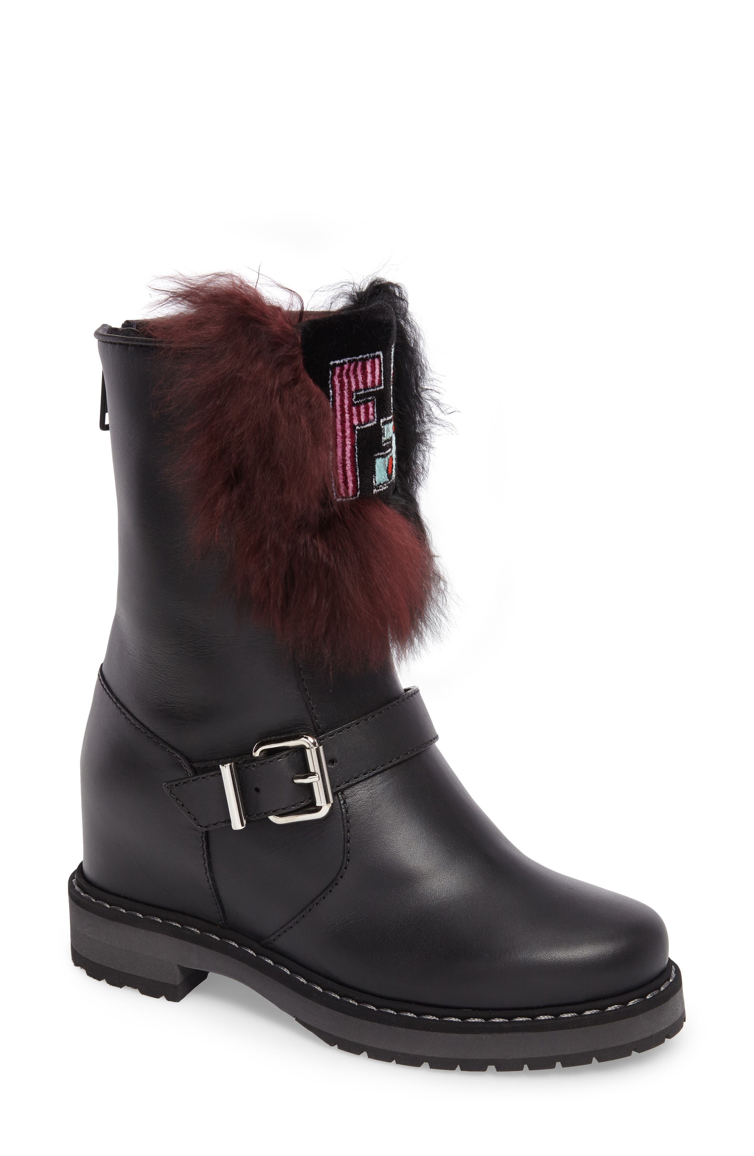 Caroline Genuine Alpaca Fur & Genuine Shearling Engineer Boot,                             Main thumbnail 1, color,                             Black/ Bordeaux