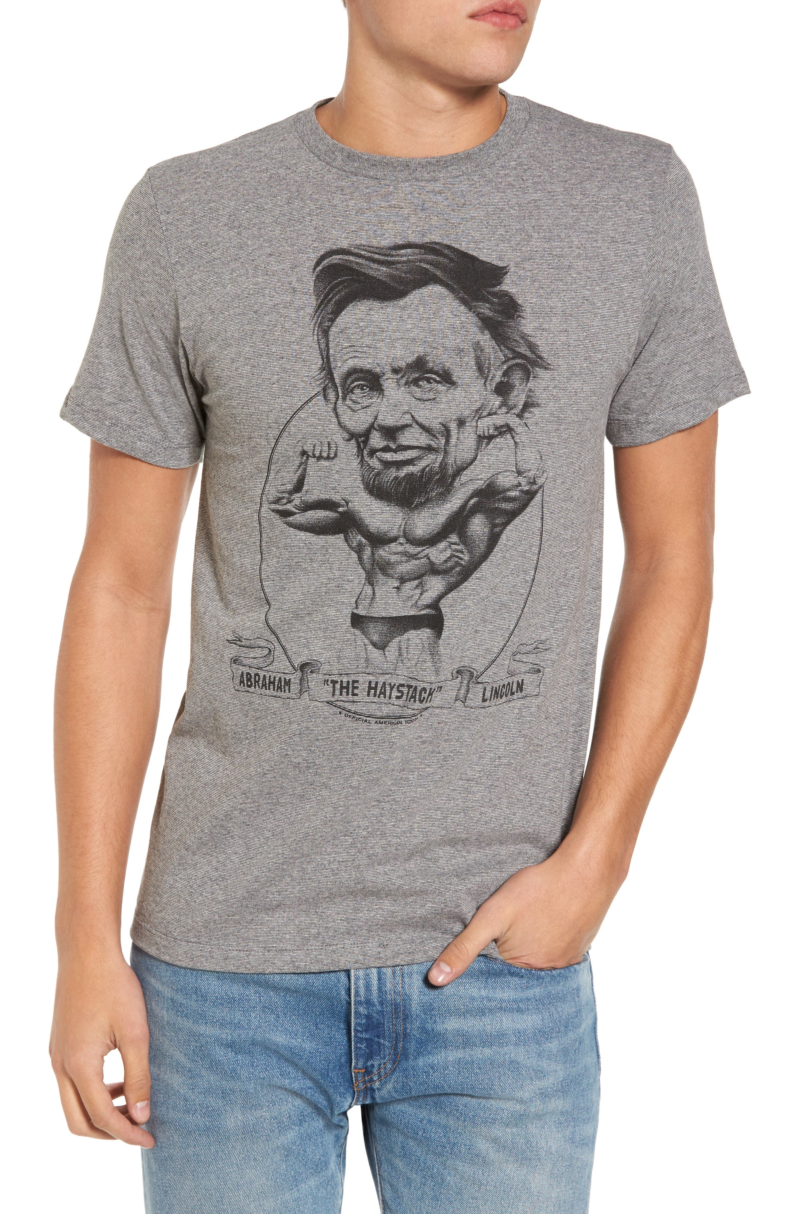 Abe Lincoln T-Shirt,                         Main,                         color, Grey Abe Lincoln