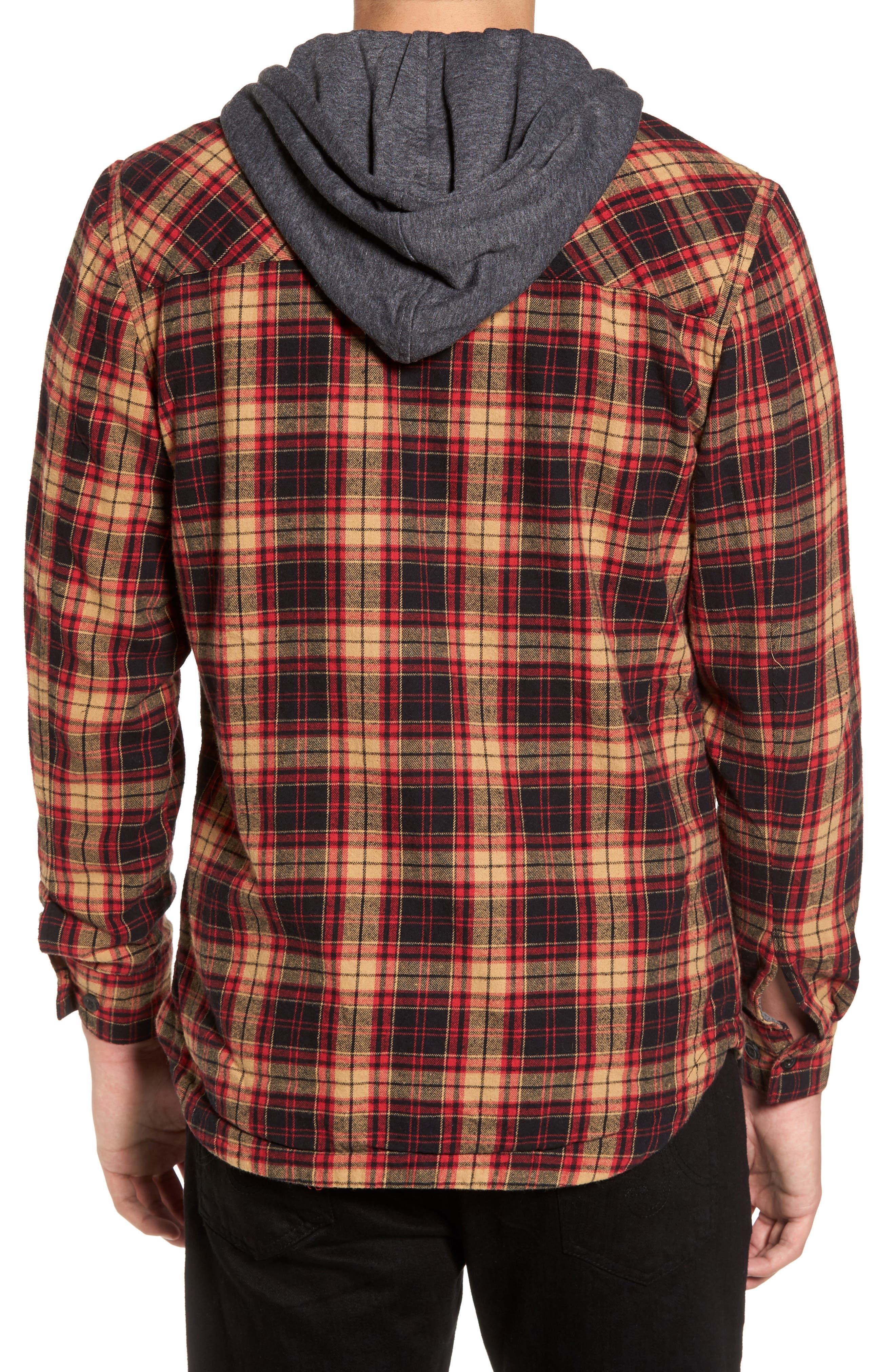 'Alford' Trim Fit Long Sleeve Plaid Hooded Shirt,                             Alternate thumbnail 2, color,                             Tobacco