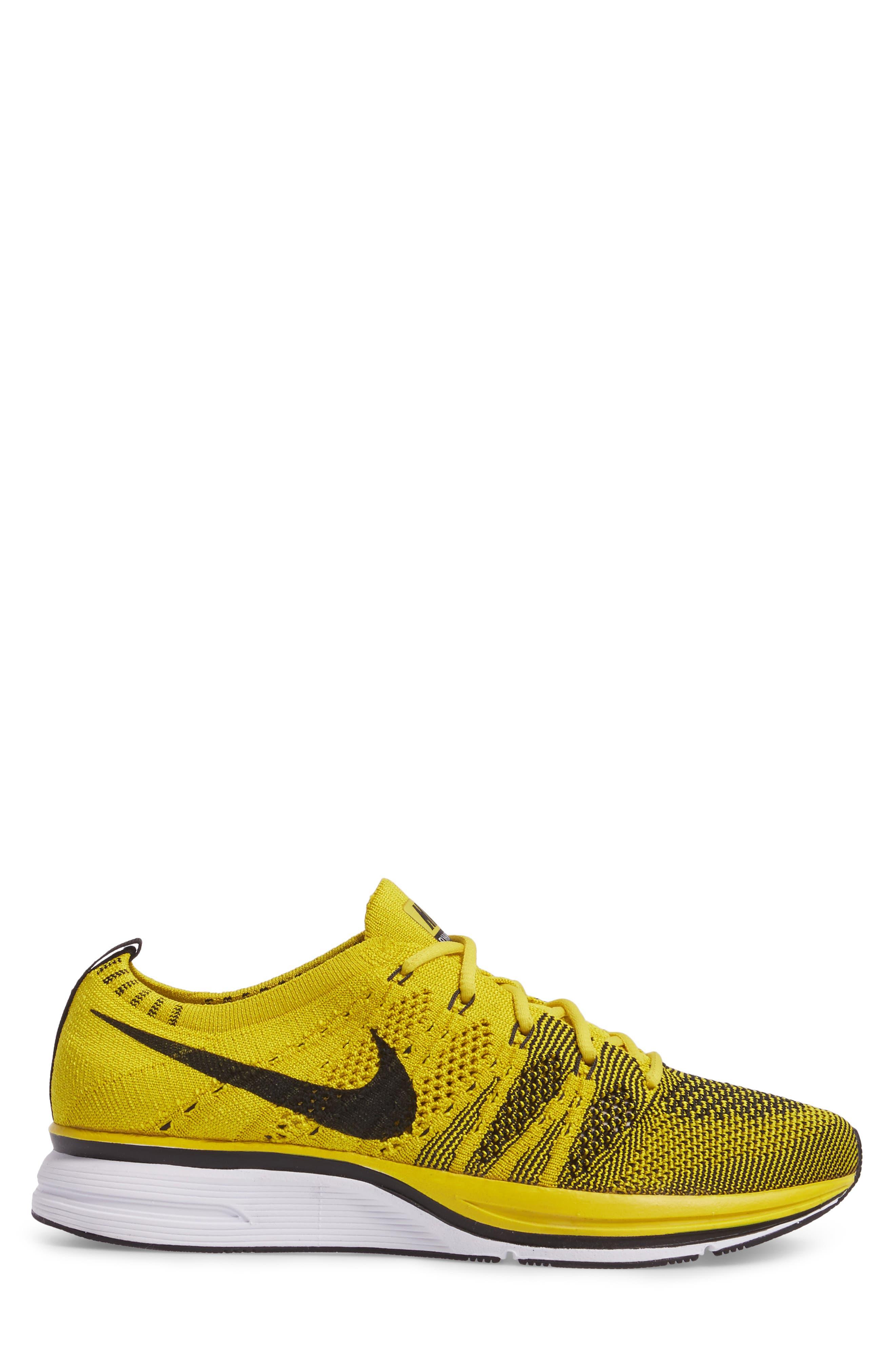 NikeLab Flyknit Trainer Sneaker,                             Alternate thumbnail 3, color,                             Bright Citron/ Black/ White