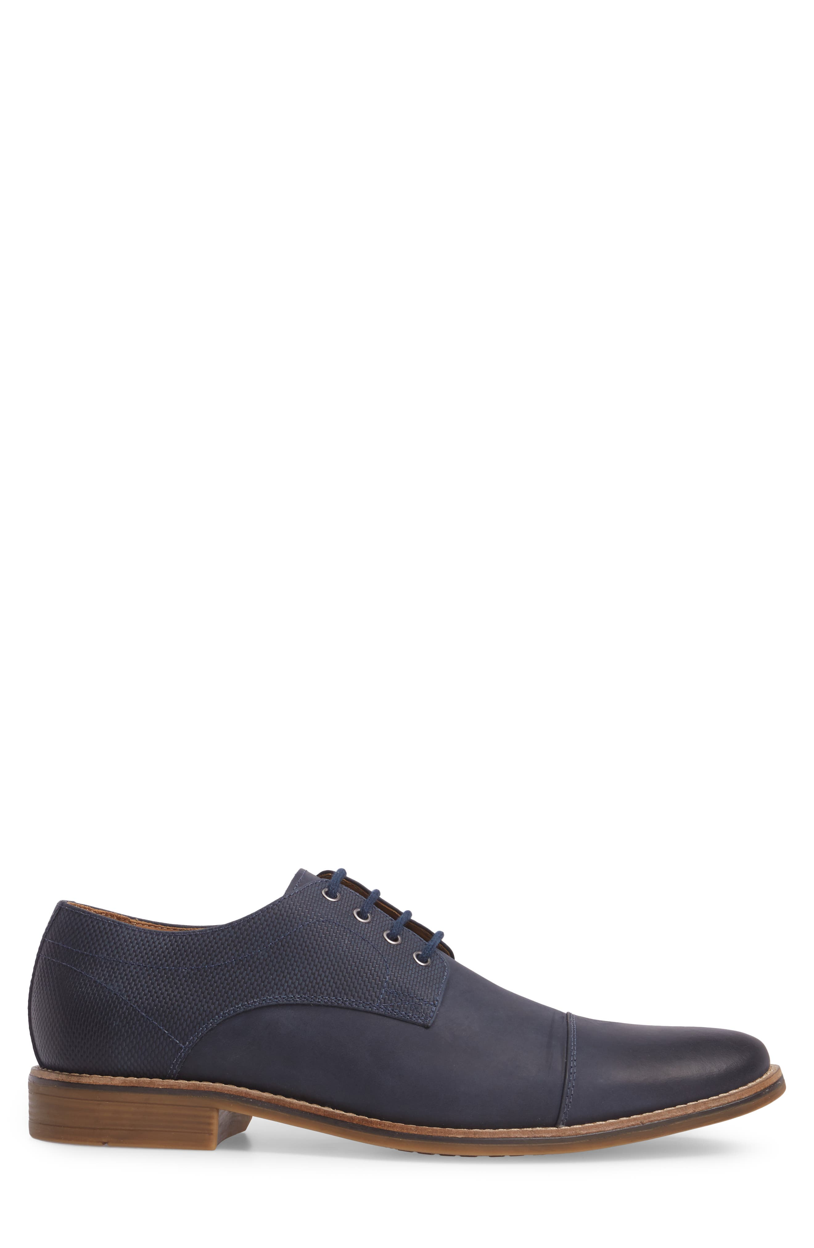 Goleta Cap Toe Derby,                             Alternate thumbnail 3, color,                             Navy Leather