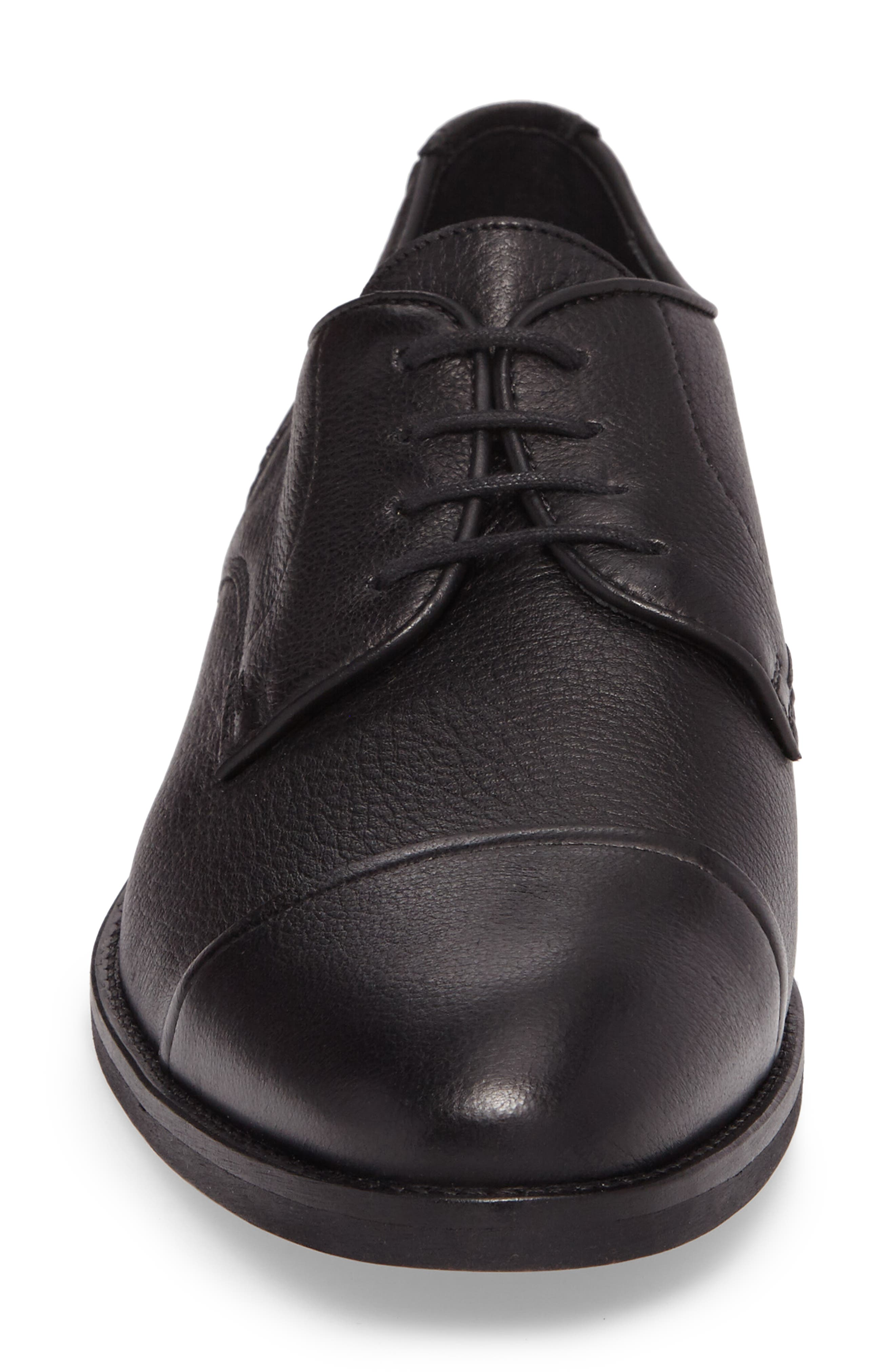 Richmond Cap Toe Derby,                             Alternate thumbnail 4, color,                             Black Leather