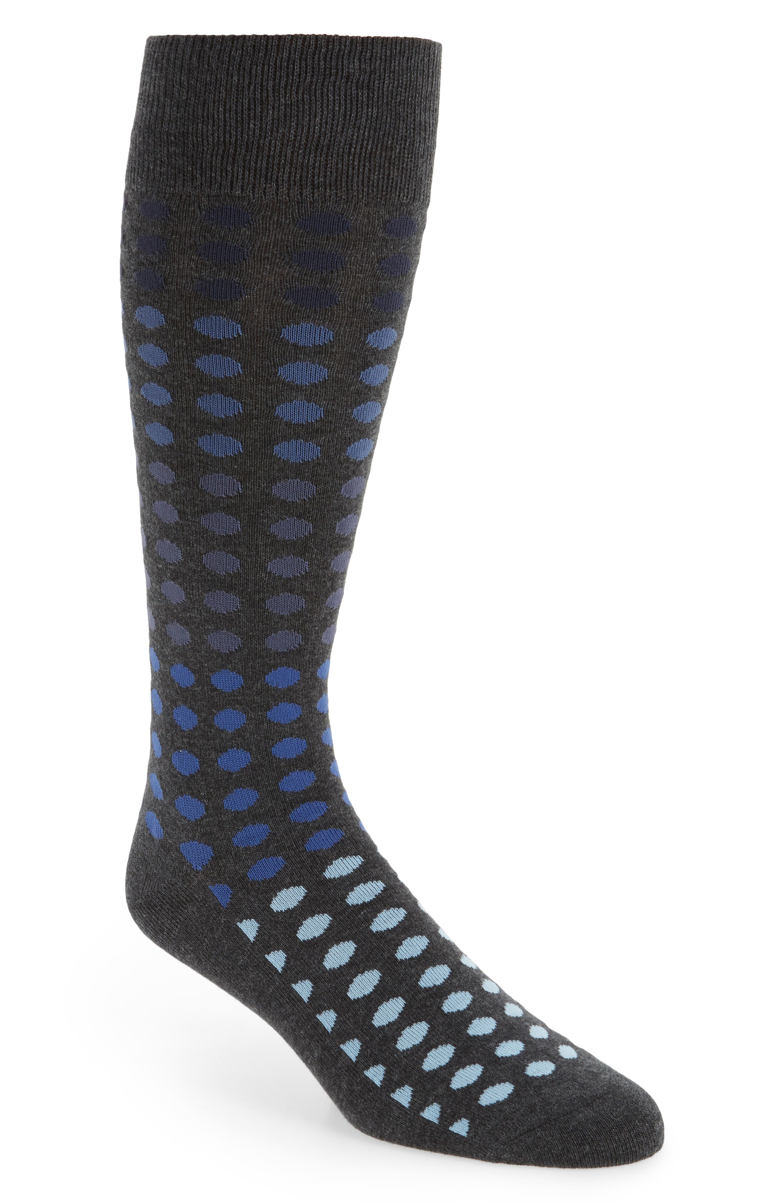 Gradient Dot Socks,                         Main,                         color, Charcoal Heather