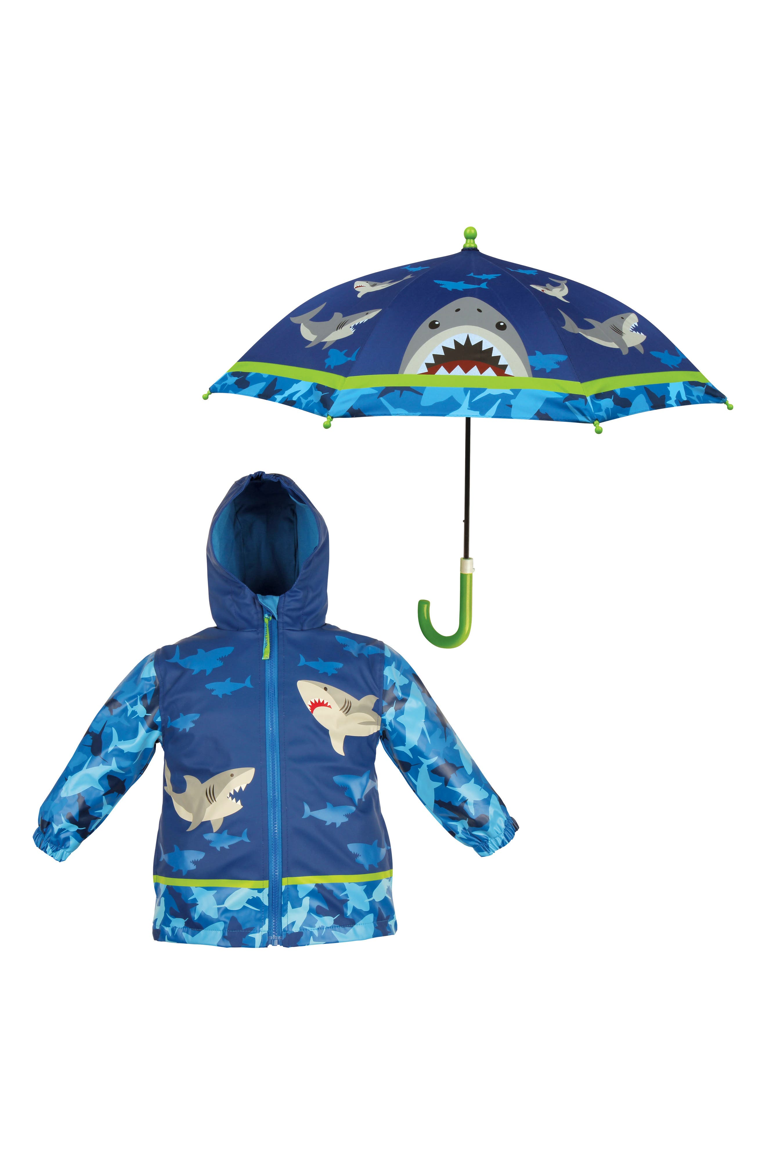 Shark Raincoat & Umbrella Set,                             Main thumbnail 1, color,                             Shark