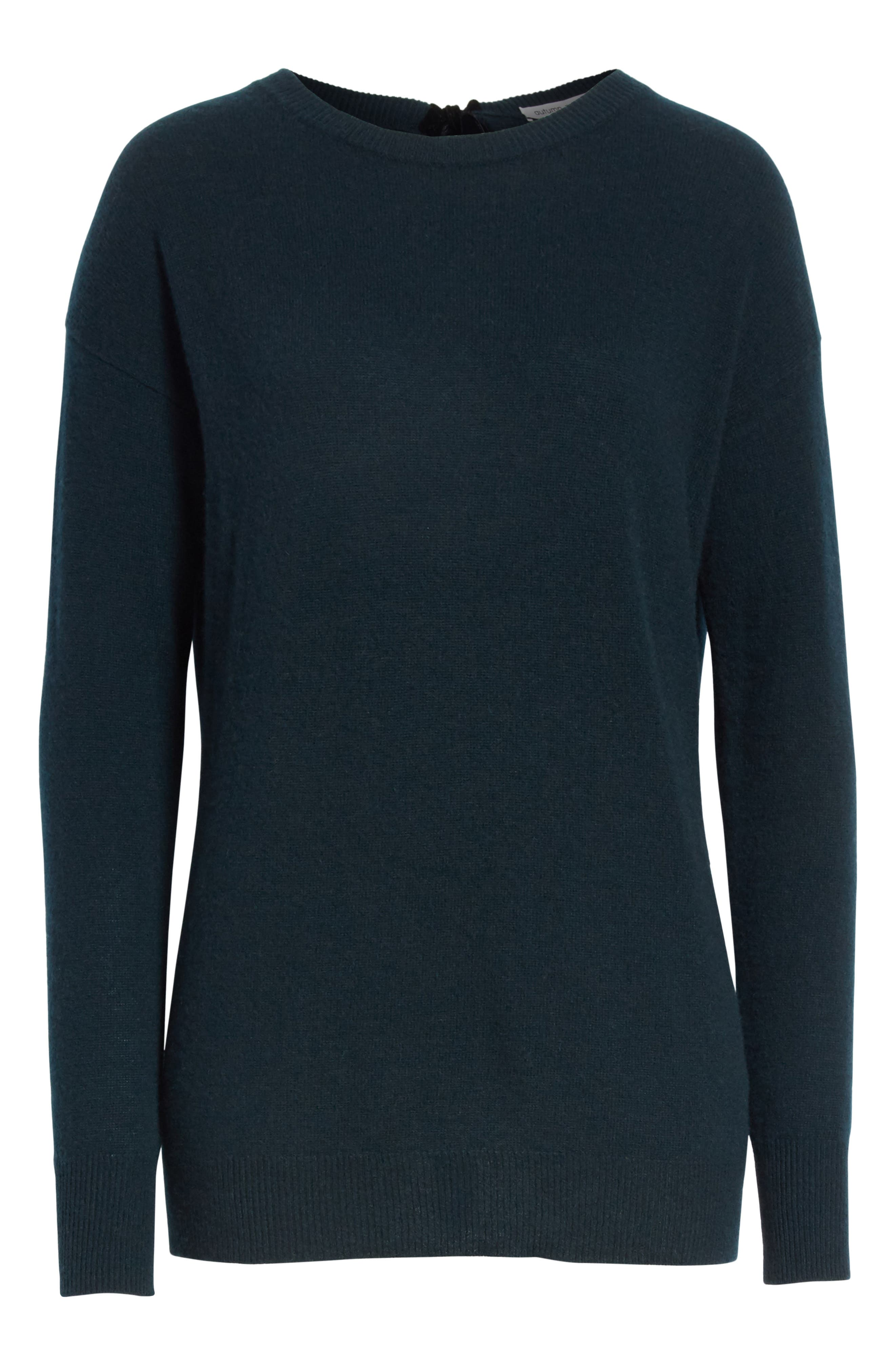 Velvet Tie Cashmere Sweater,                             Alternate thumbnail 6, color,                             Juniper