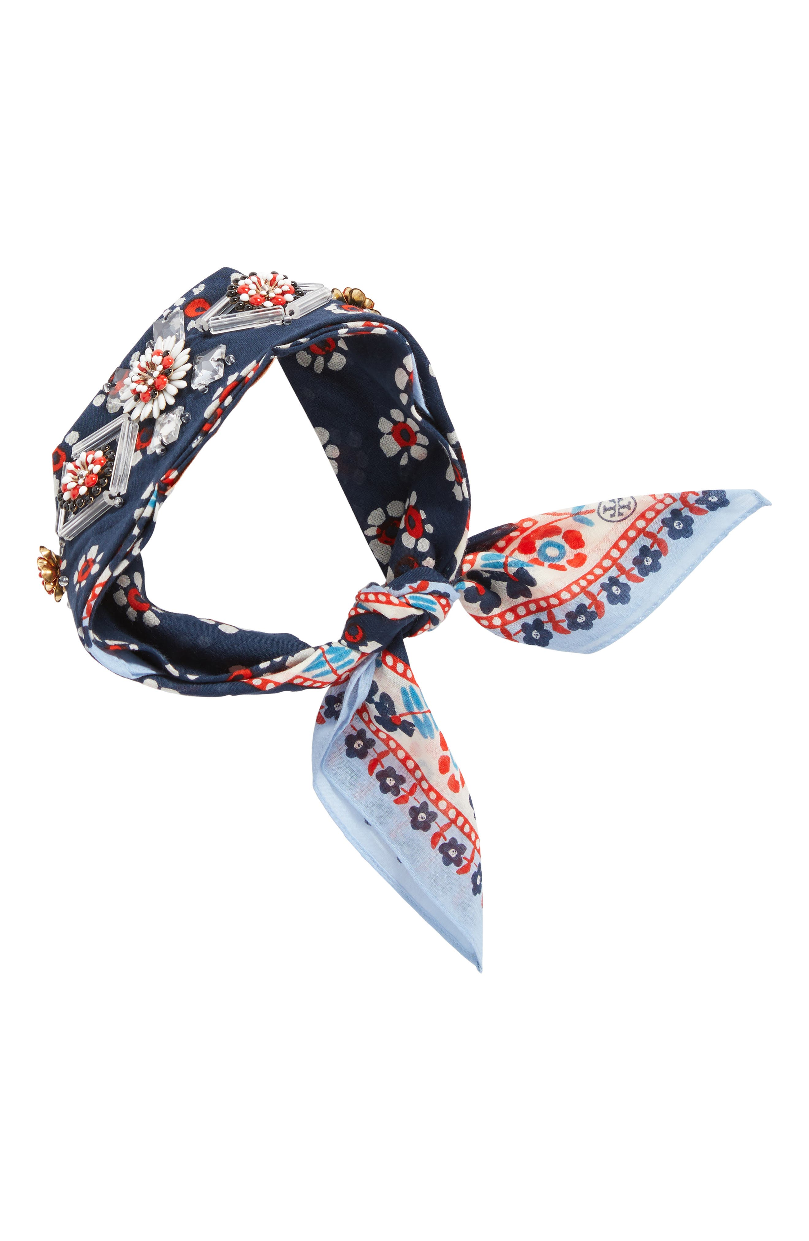 Embellished Floral Scarf,                             Alternate thumbnail 4, color,                             Navy Stamped Floral