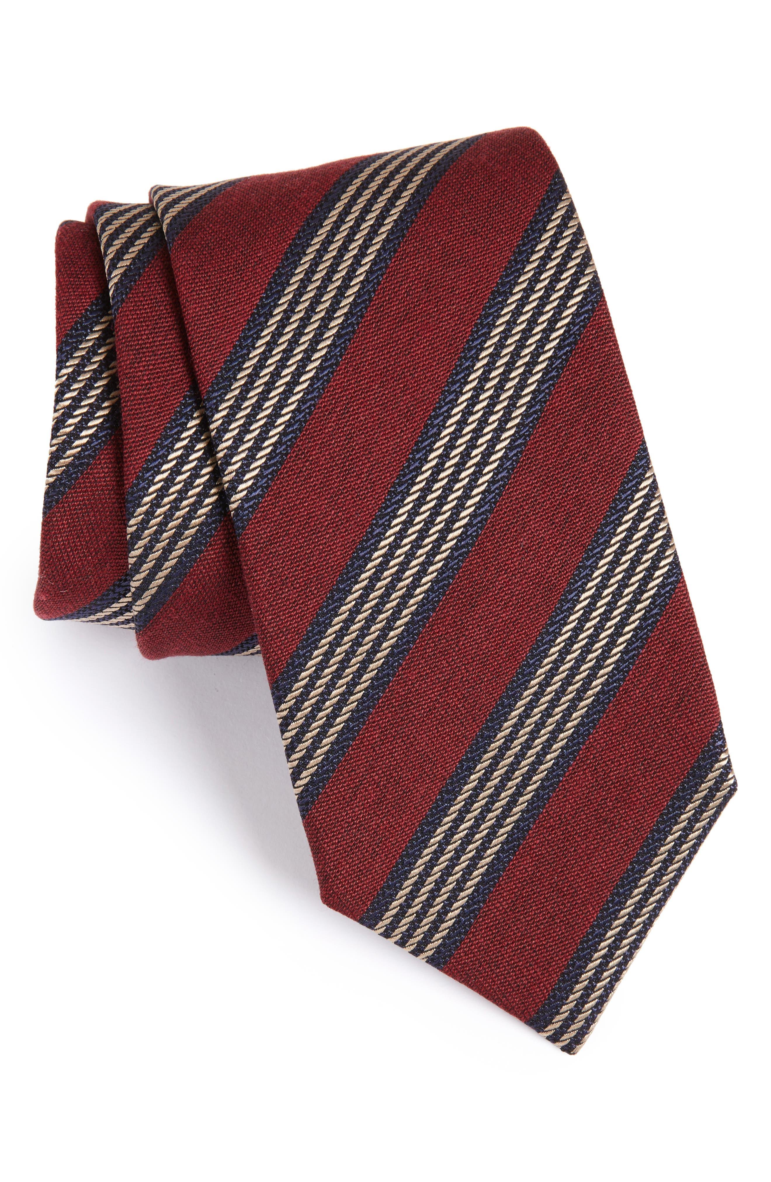 Eton Stripe Cotton, Silk & Wool Tie