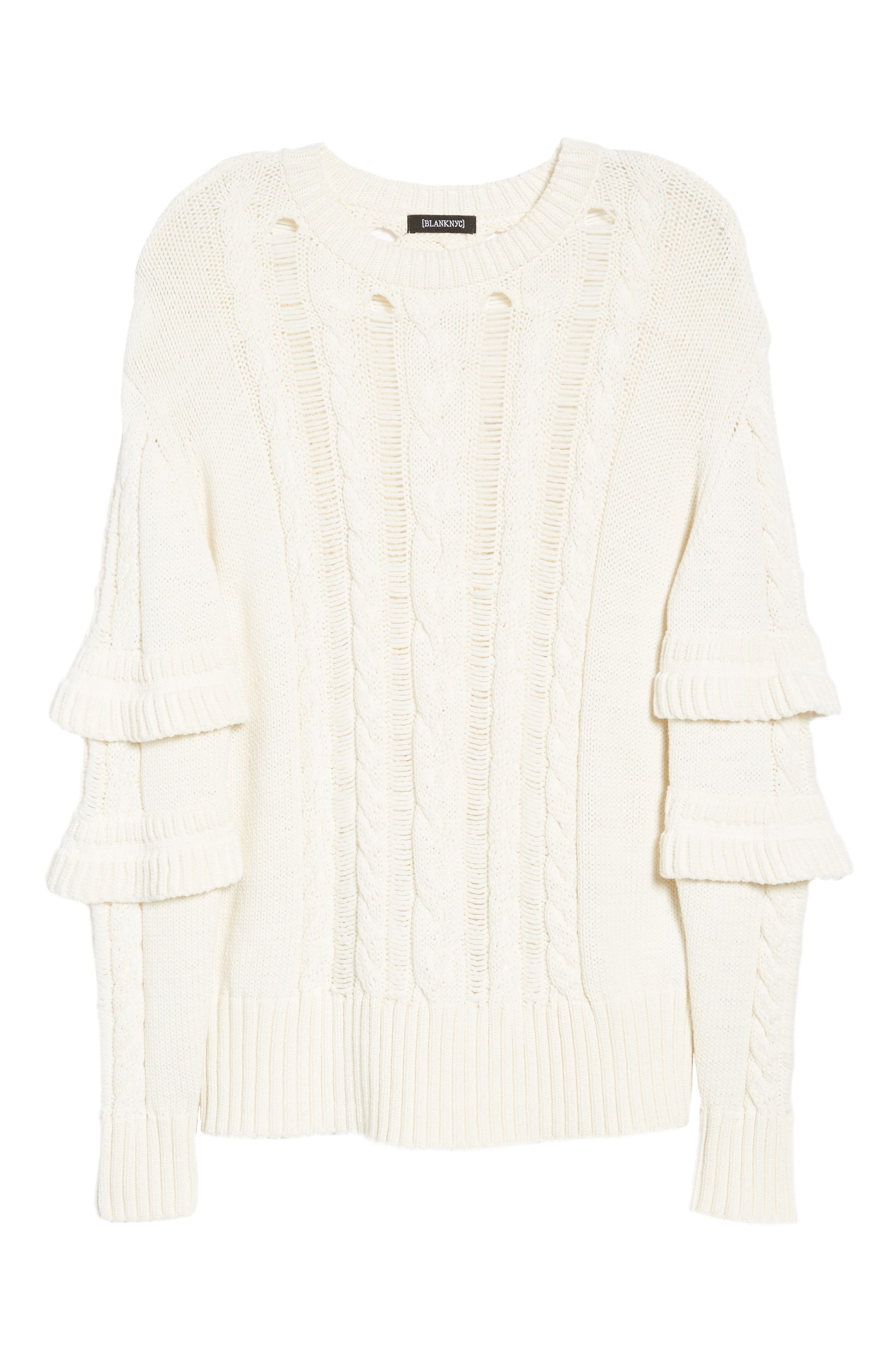 Ruffle Sleeve Cable Knit Sweater,                             Alternate thumbnail 6, color,                             Just For Kicks/ Ivory