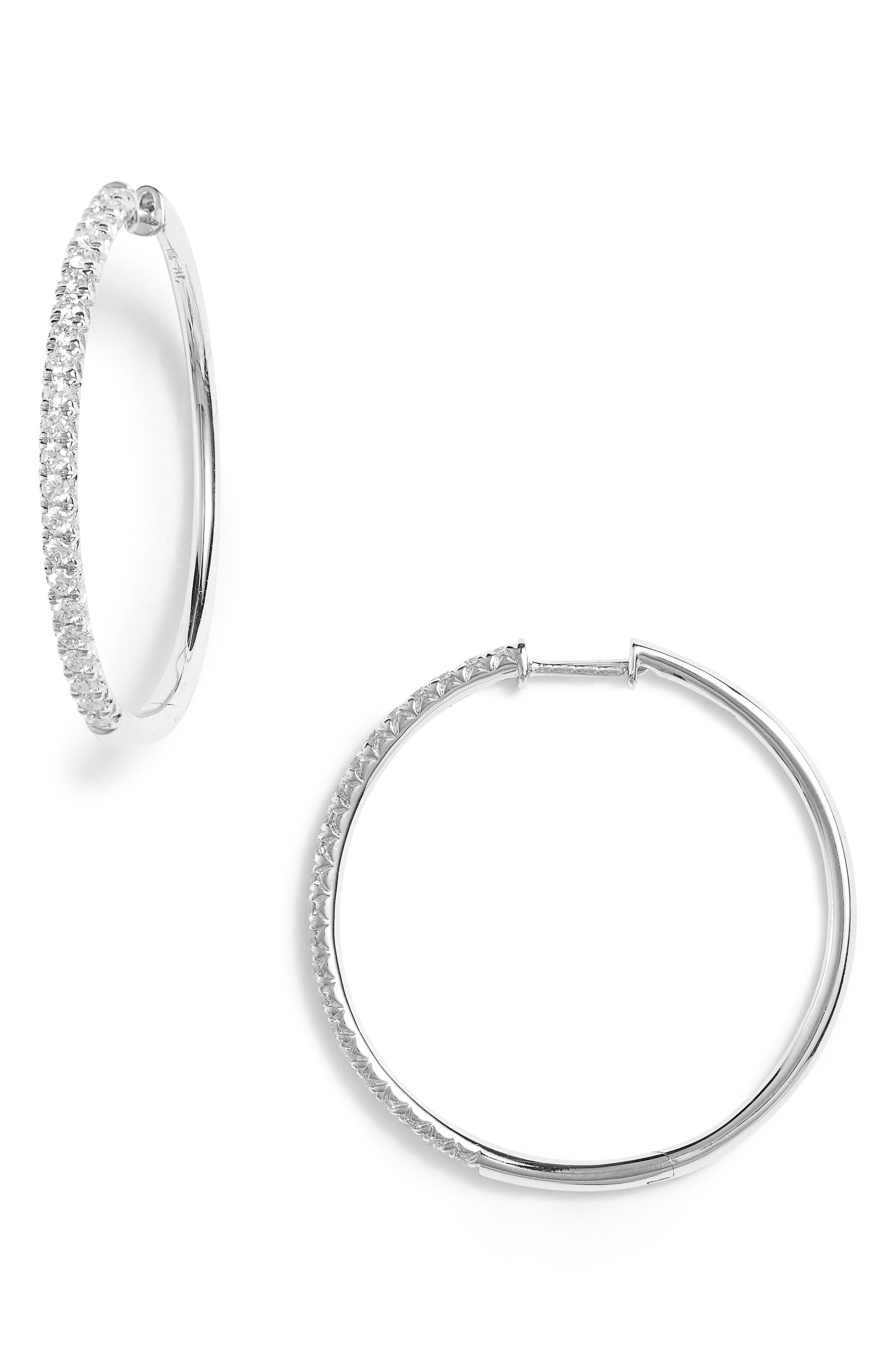 Kiera French Cut Diamond Hoop Earrings,                         Main,                         color, White Gold