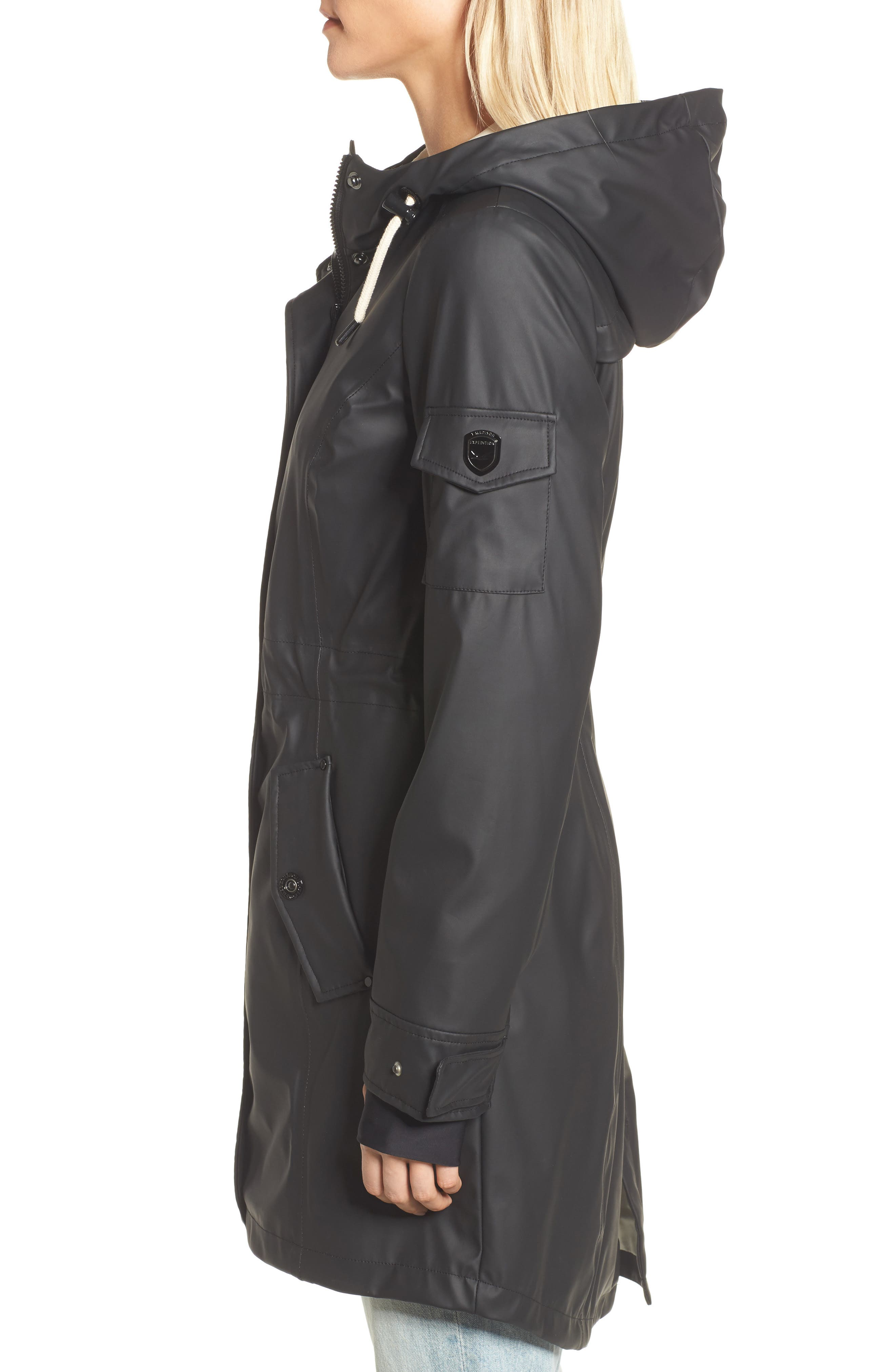 Contrast Cuff Fishtail Anorak,                             Alternate thumbnail 3, color,                             Black