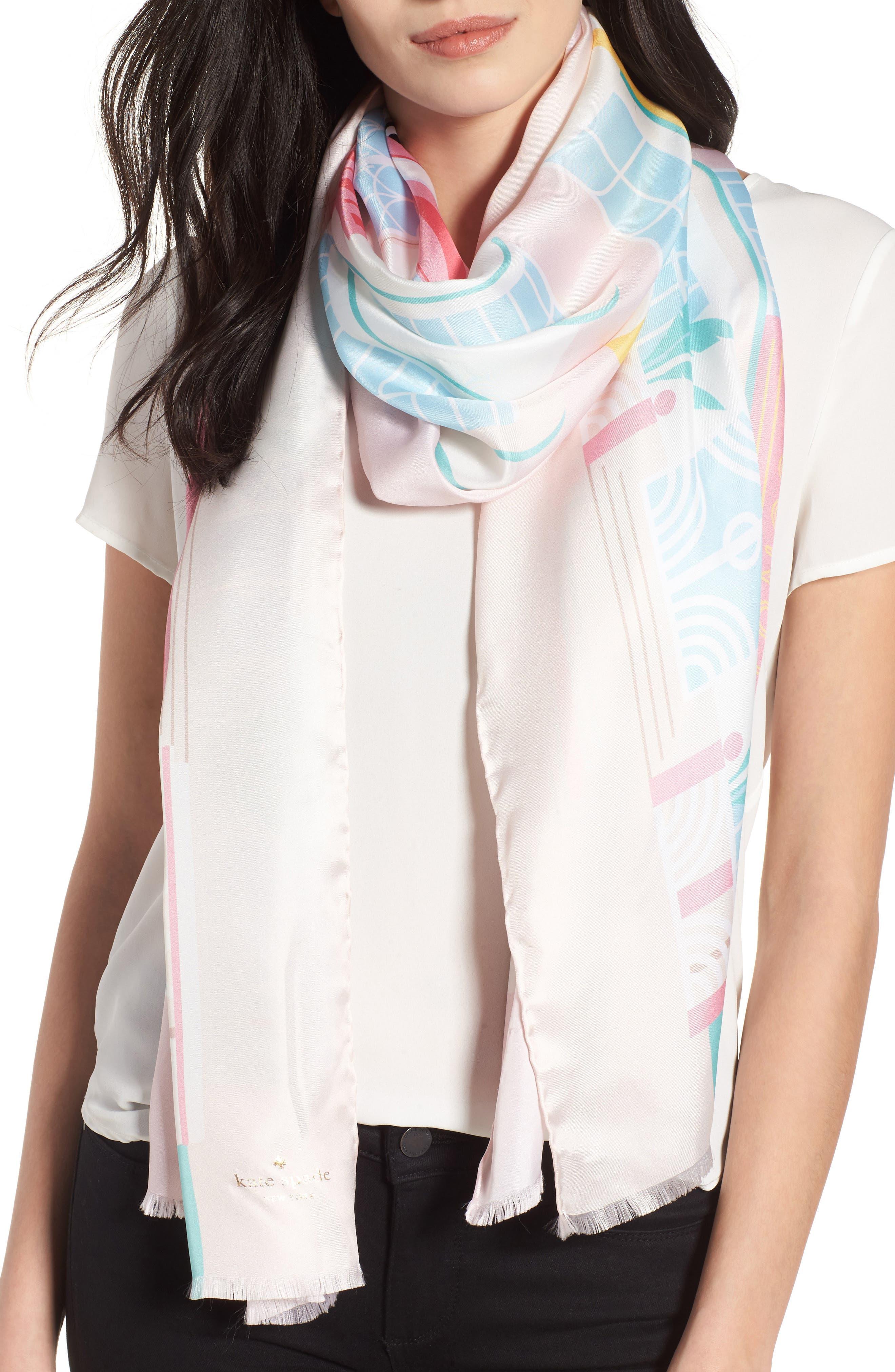 deco hotel oblong silk scarf,                         Main,                         color, Valentine Pink
