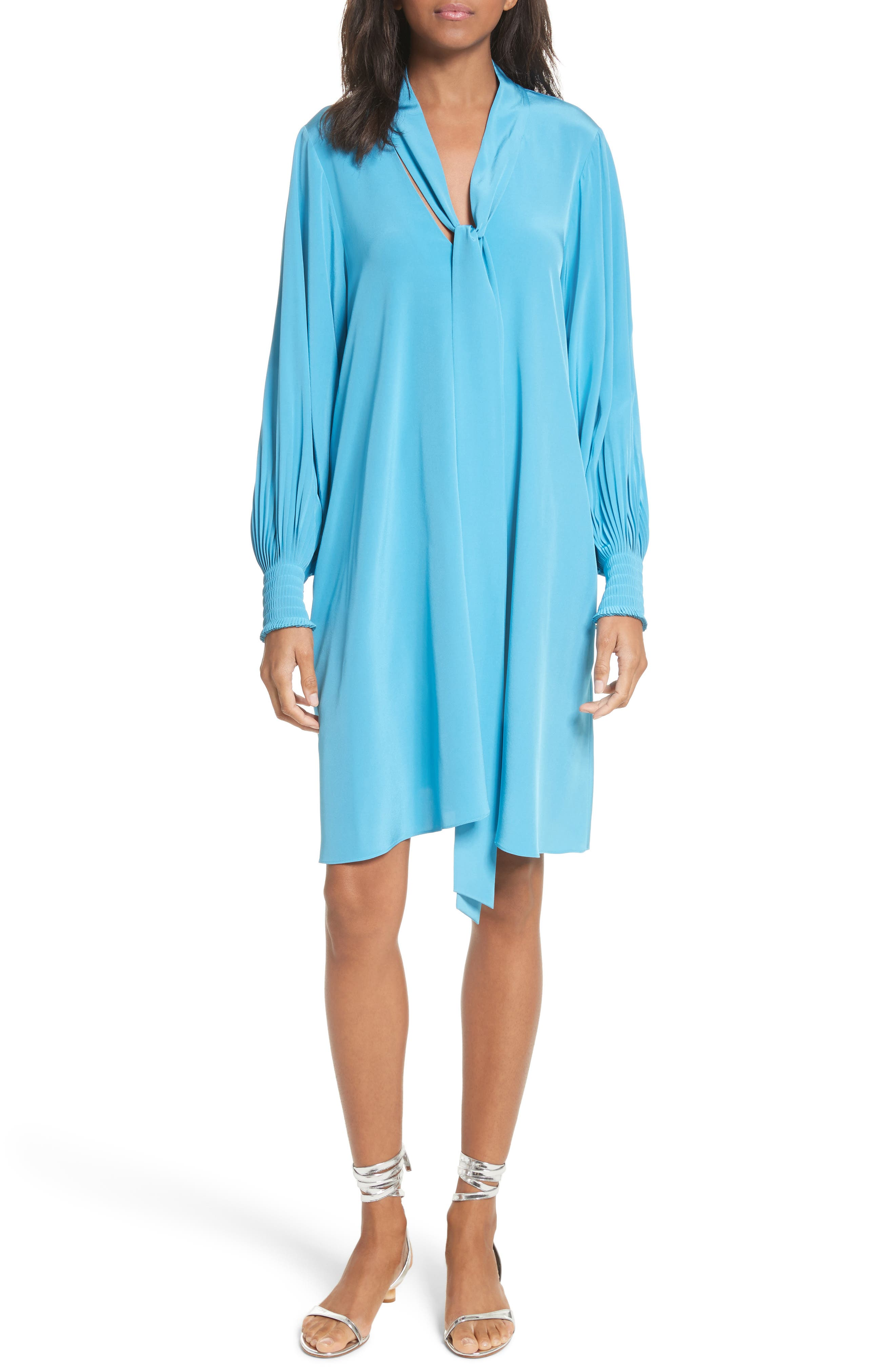 Arielle Tie Front Silk Shift Dress,                             Main thumbnail 1, color,                             Bowery Blue