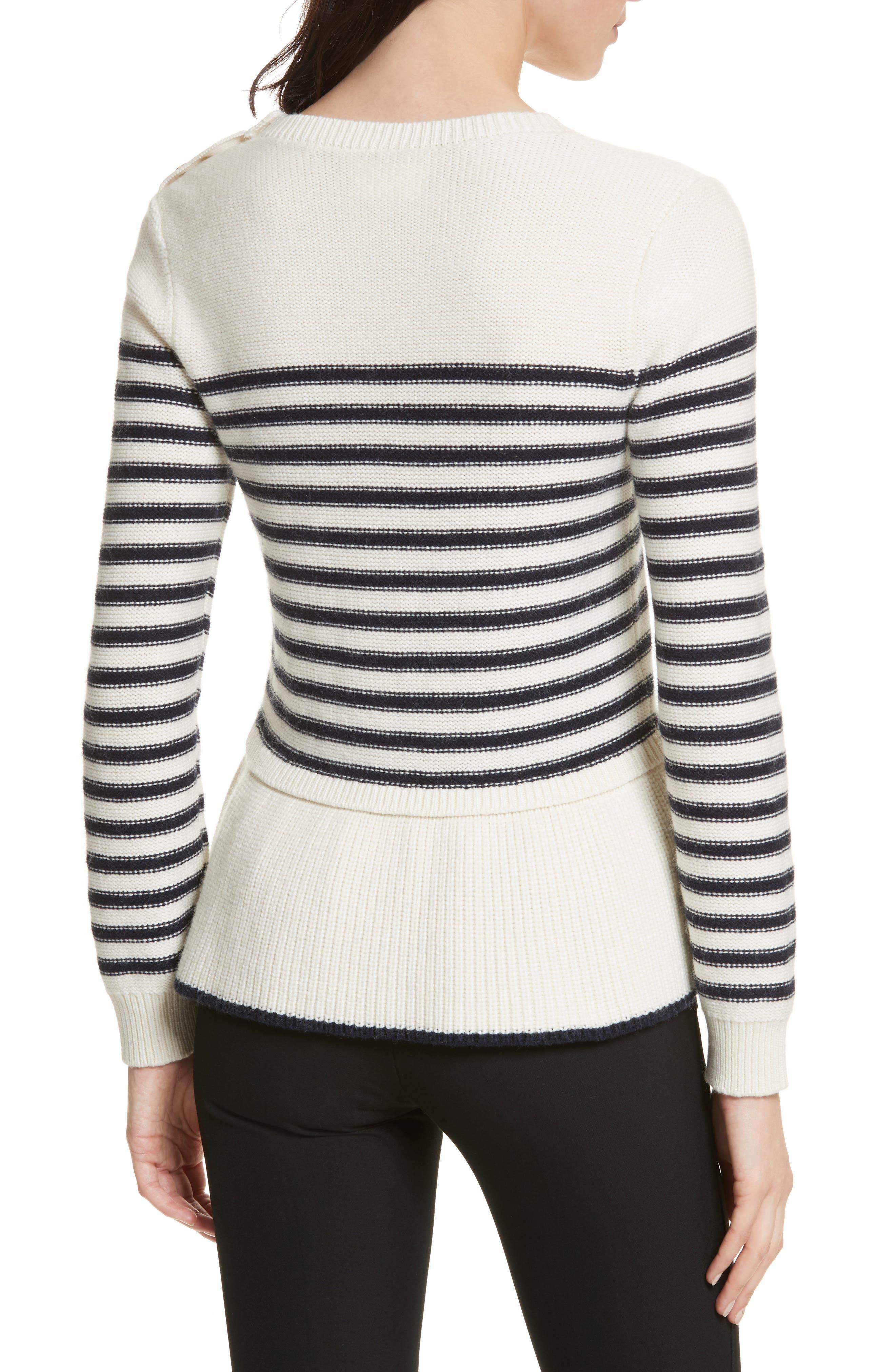 navy stripe peplum sweater,                             Alternate thumbnail 2, color,                             Cream/ Rich Navy
