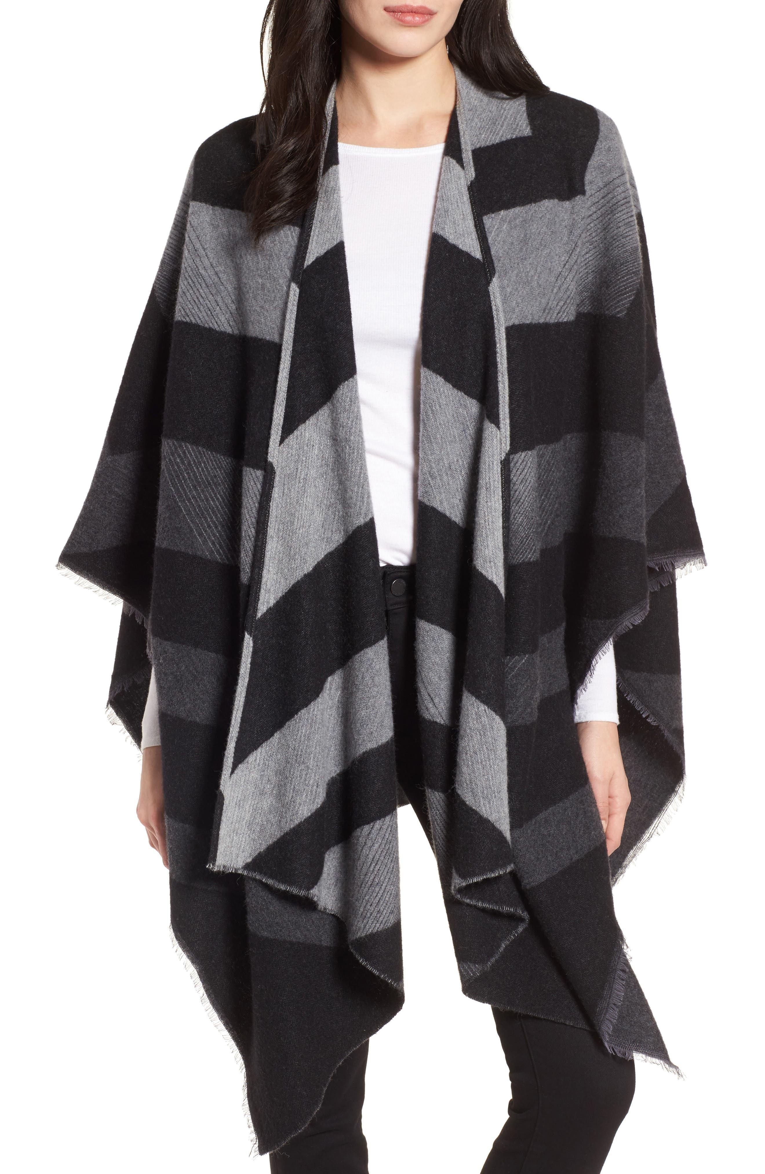 Stripe Wool Blend Poncho Wrap,                         Main,                         color, Ash
