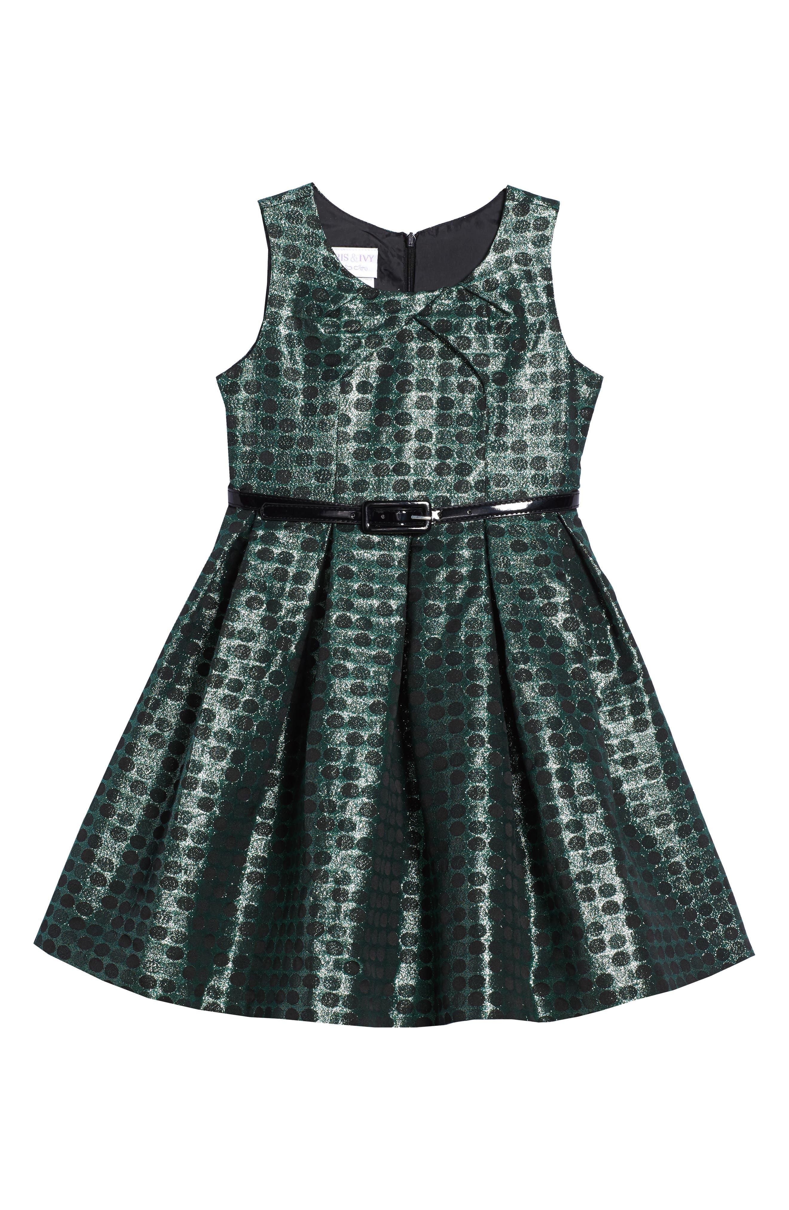 Iris & Ivy Jacquard Dot Dress (Toddler Girls & Little Girls)