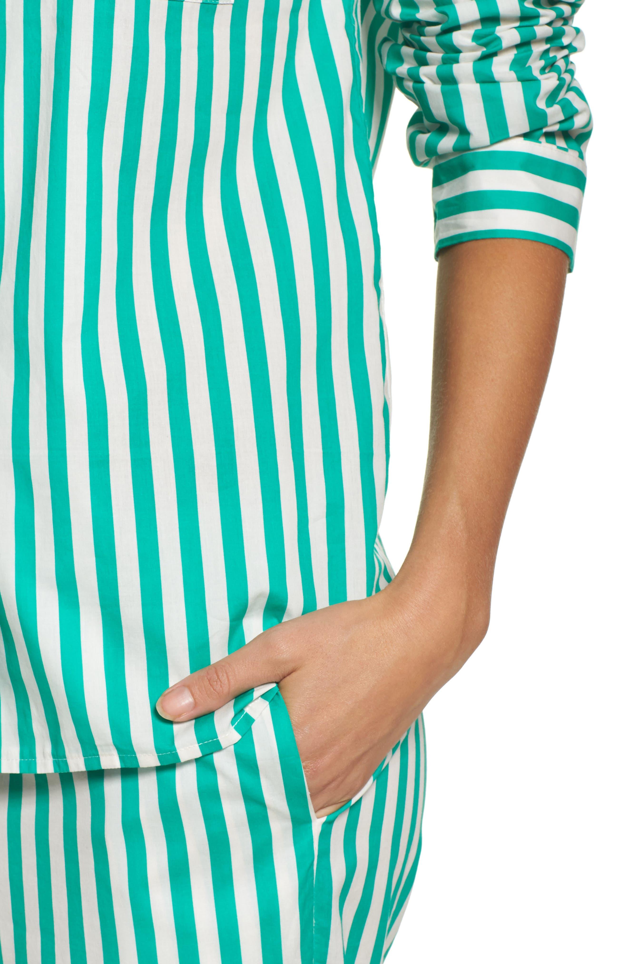 Alternate Image 5  - Yolke Classic Stripe Cotton Pajamas