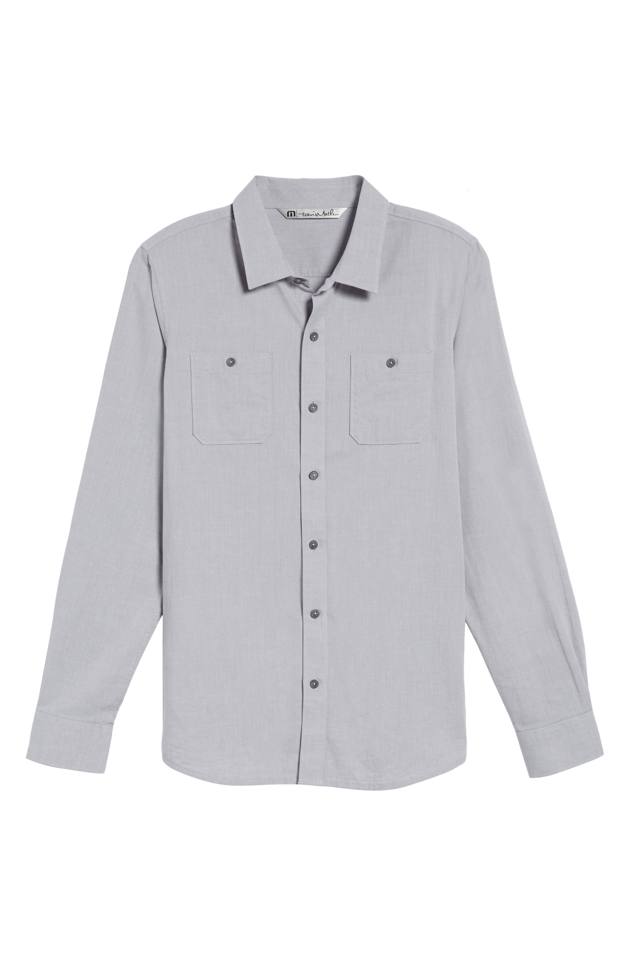 Alternate Image 6  - Travis Mathew Gotemba Slim Fit Herringbone Sport Shirt
