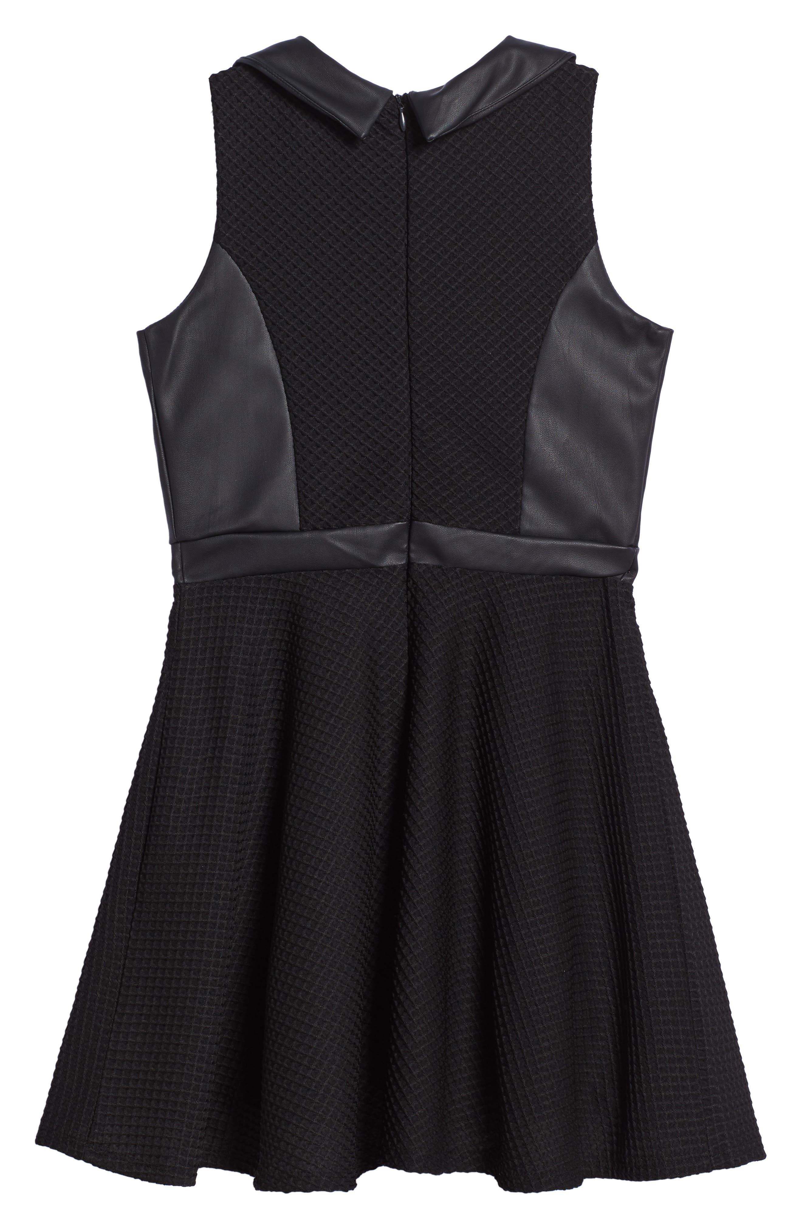 Faux Leather Skater Dress,                             Alternate thumbnail 2, color,                             Black