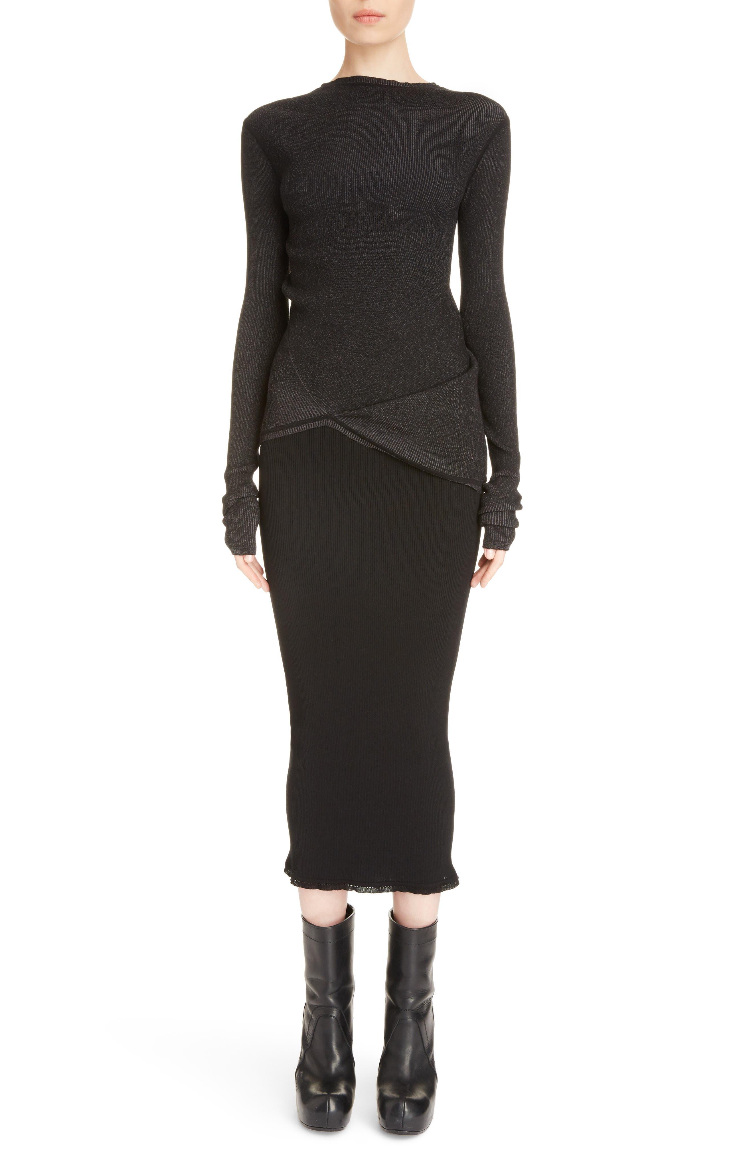 Stretch Knit Midi Skirt,                             Alternate thumbnail 7, color,                             Black