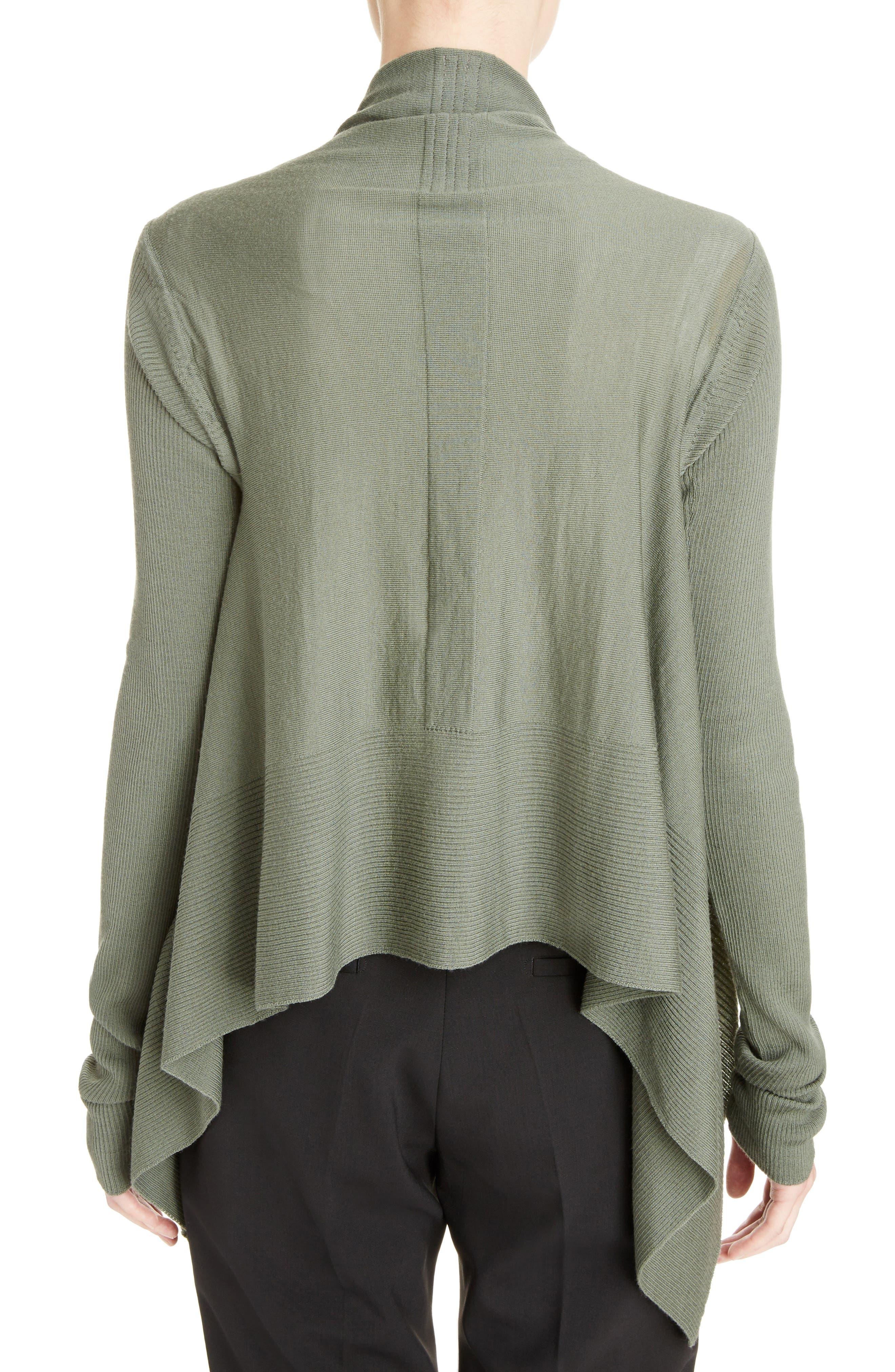 Merino Wool Drape Crop Cardigan,                             Alternate thumbnail 2, color,                             Sage