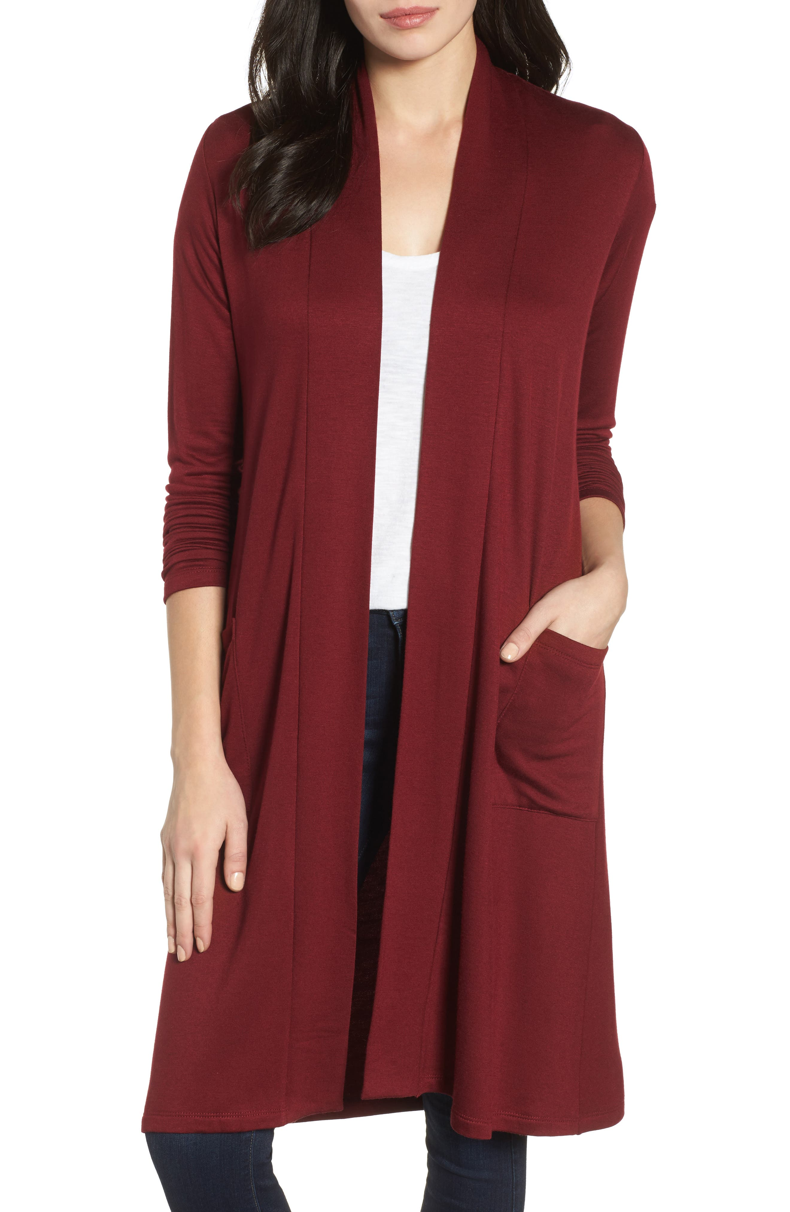 Bobeau Elegant Fleece Cardigan