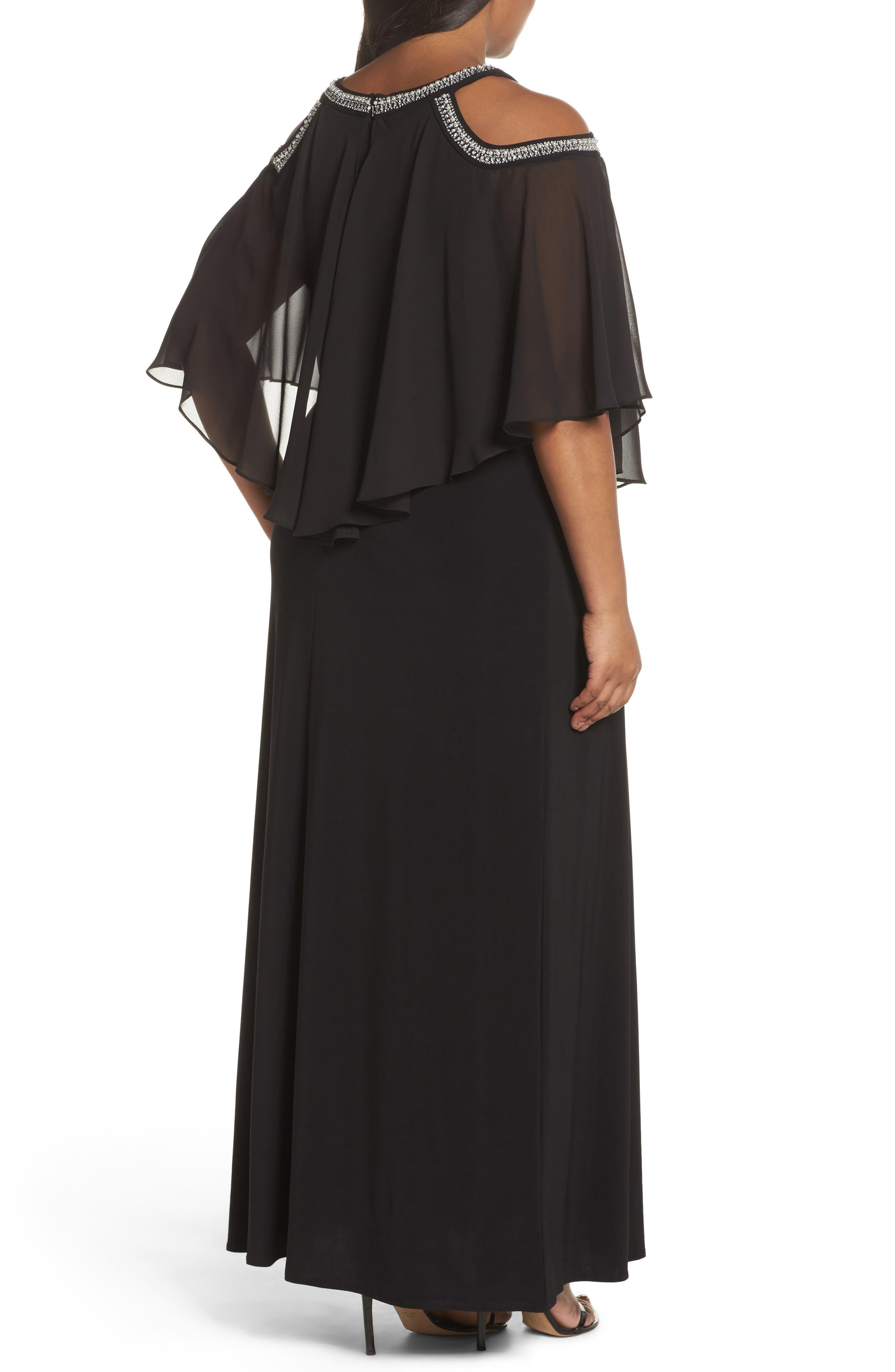 Embellished Cold Shoulder Popover Gown,                             Alternate thumbnail 2, color,                             Black