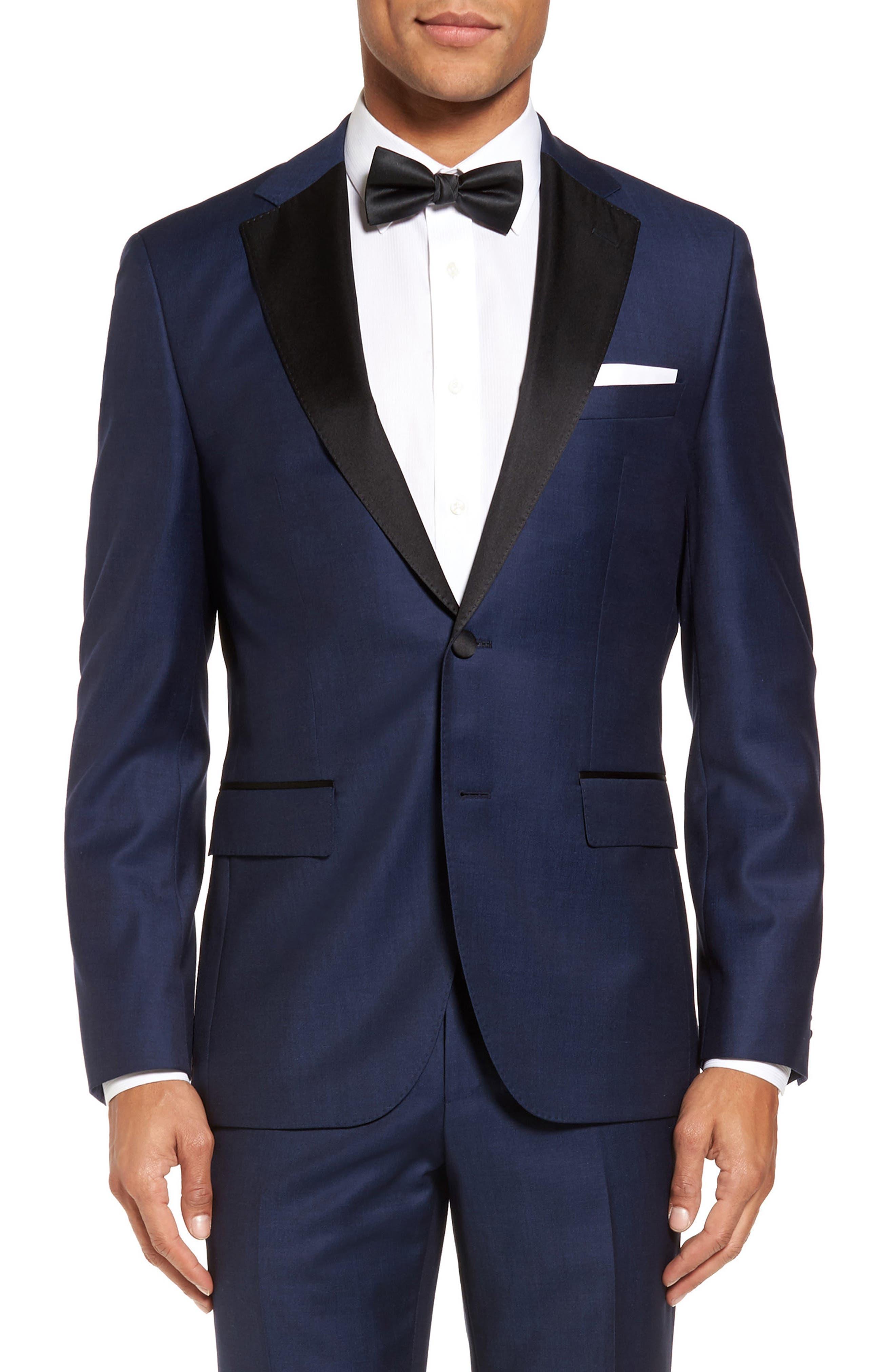 Jelvan/Livan Trim Fit Wool & Silk Tuxedo,                             Alternate thumbnail 4, color,                             Medium Blue