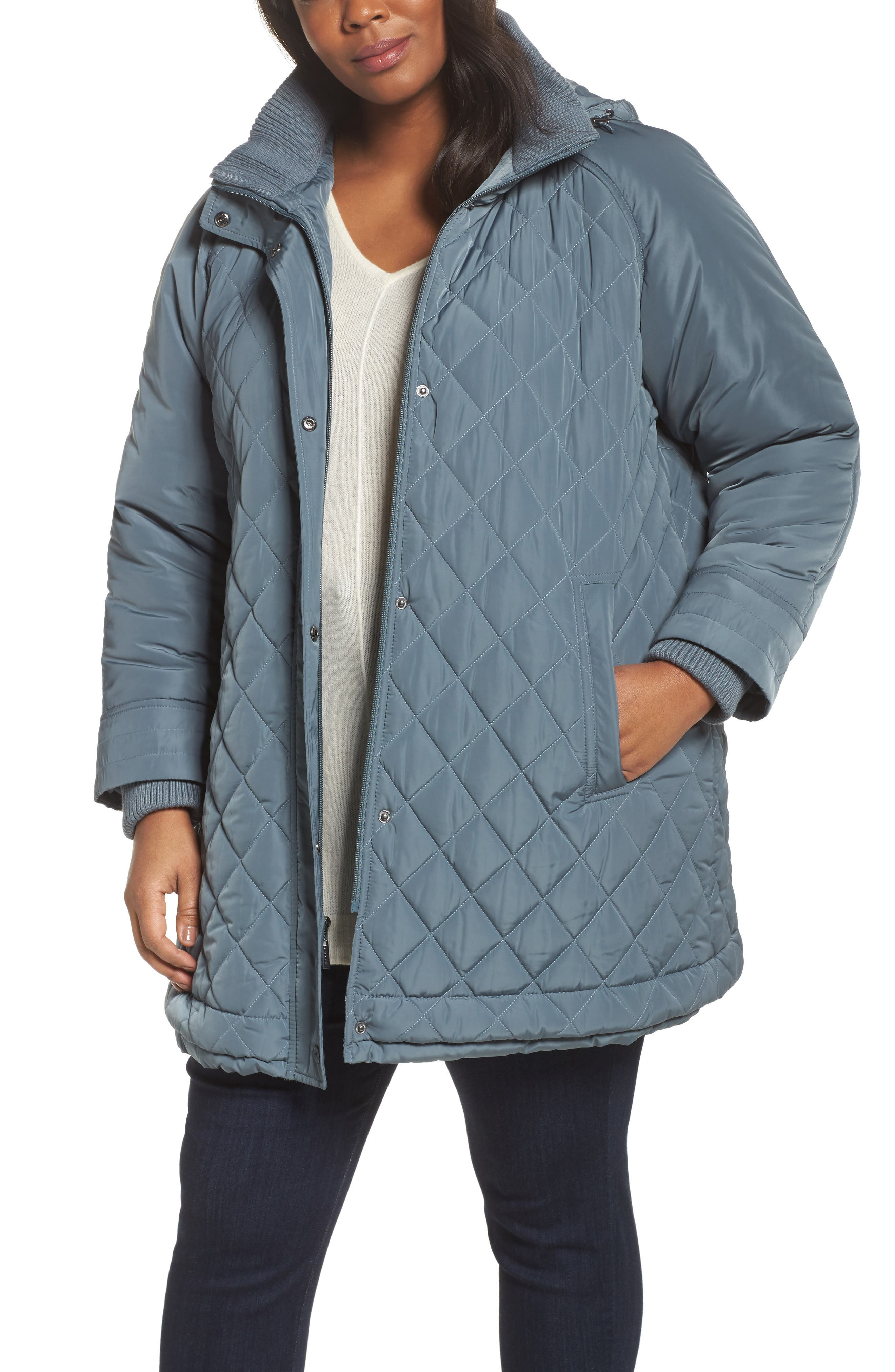 Quilted Hooded Jacket,                         Main,                         color, Patina