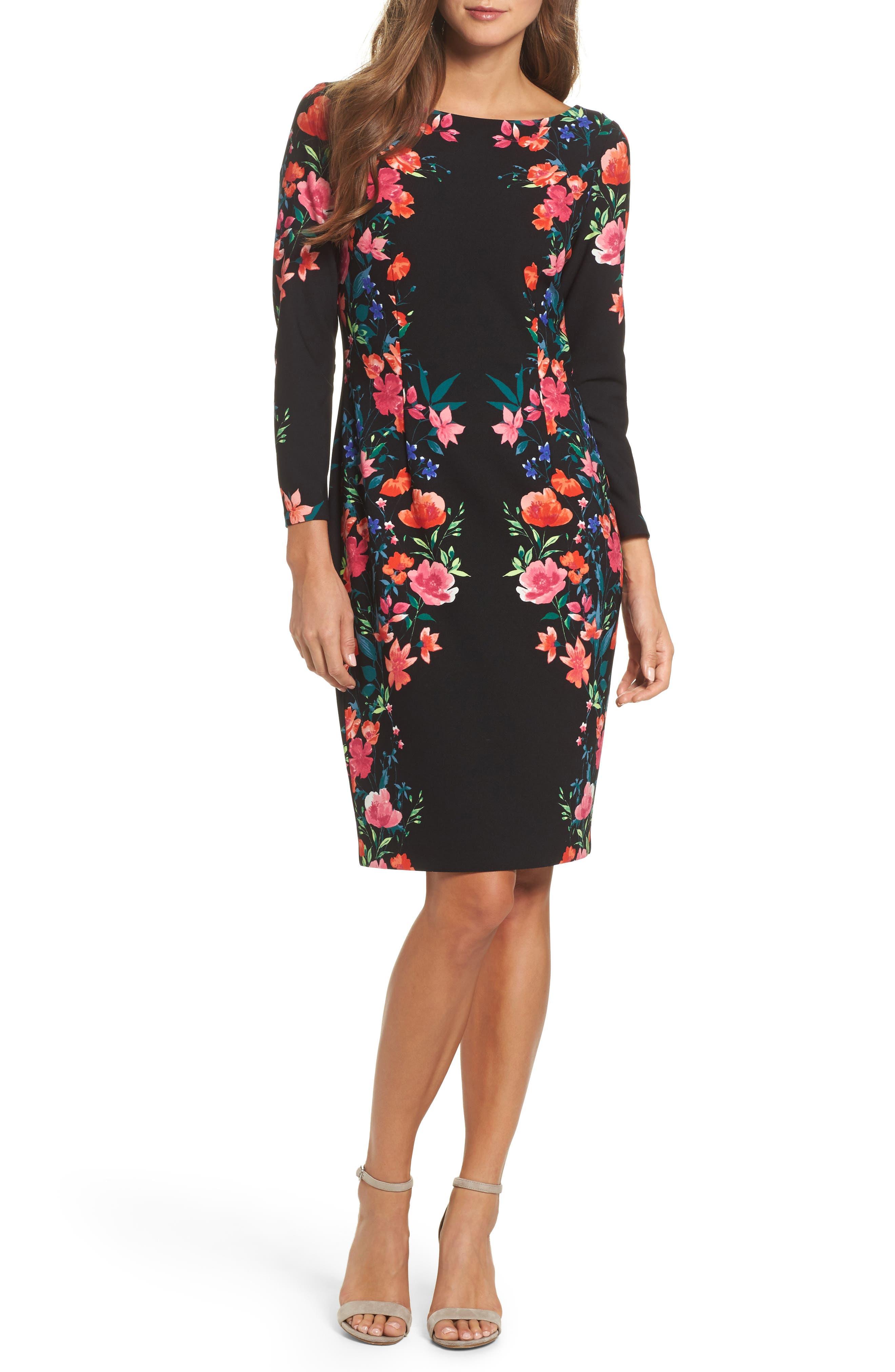 Crepe Sheath Dress,                         Main,                         color, Navy/ Pink