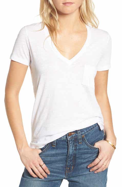 375aafc2fb2a4 Madewell Whisper Cotton V-Neck Pocket Tee (Regular   Plus Size)