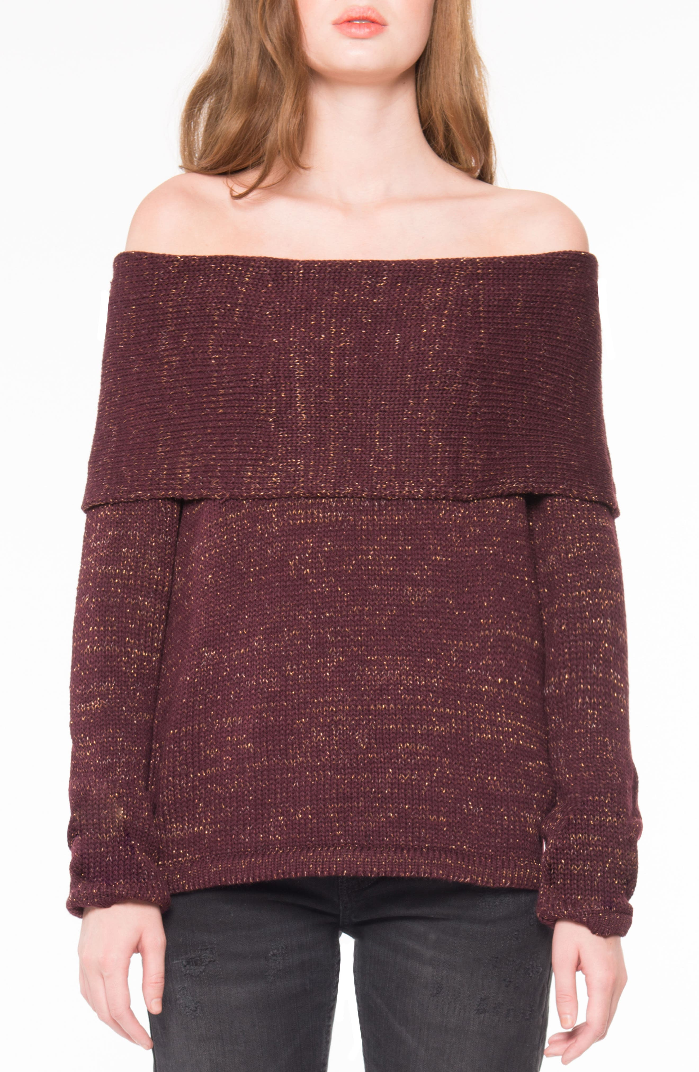 Off the Shoulder Sweater,                             Main thumbnail 1, color,                             Plum