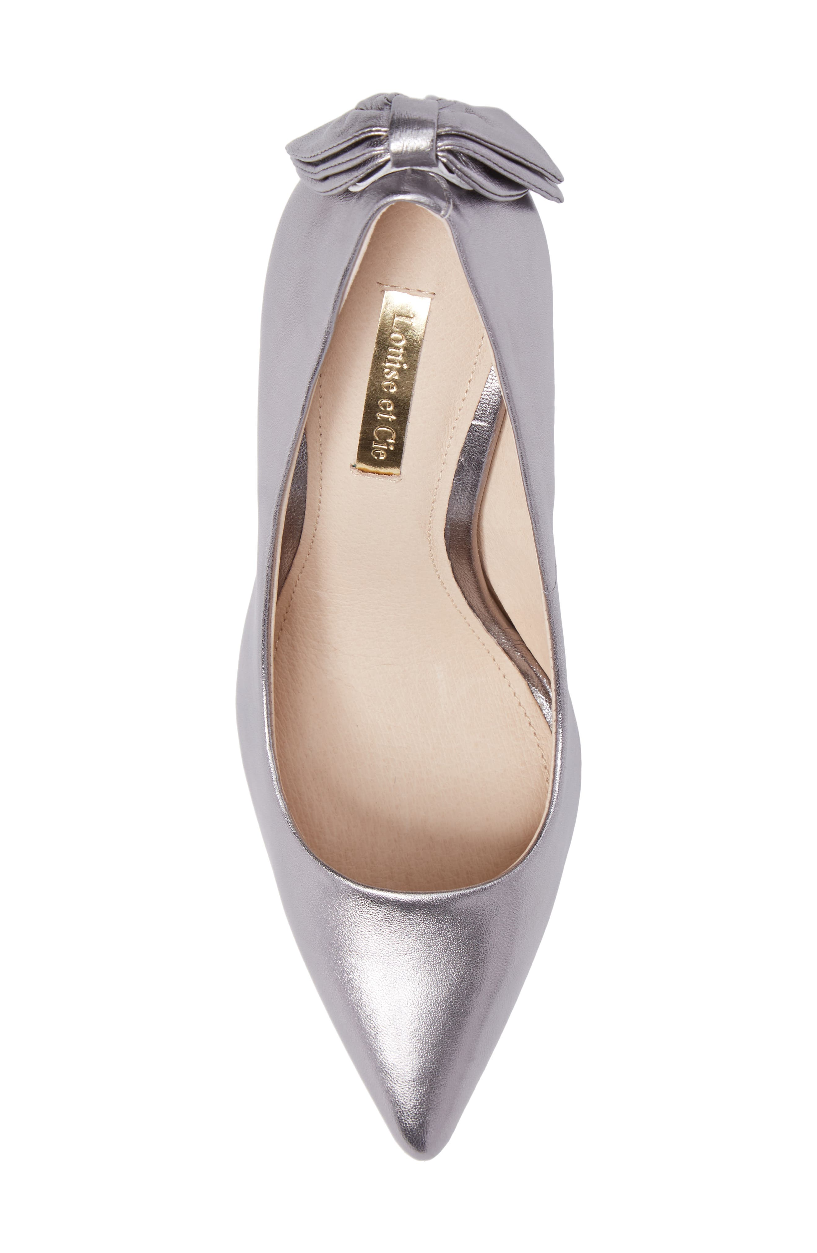 Josely Pointy Toe Pump,                             Alternate thumbnail 5, color,                             Chrome Leather