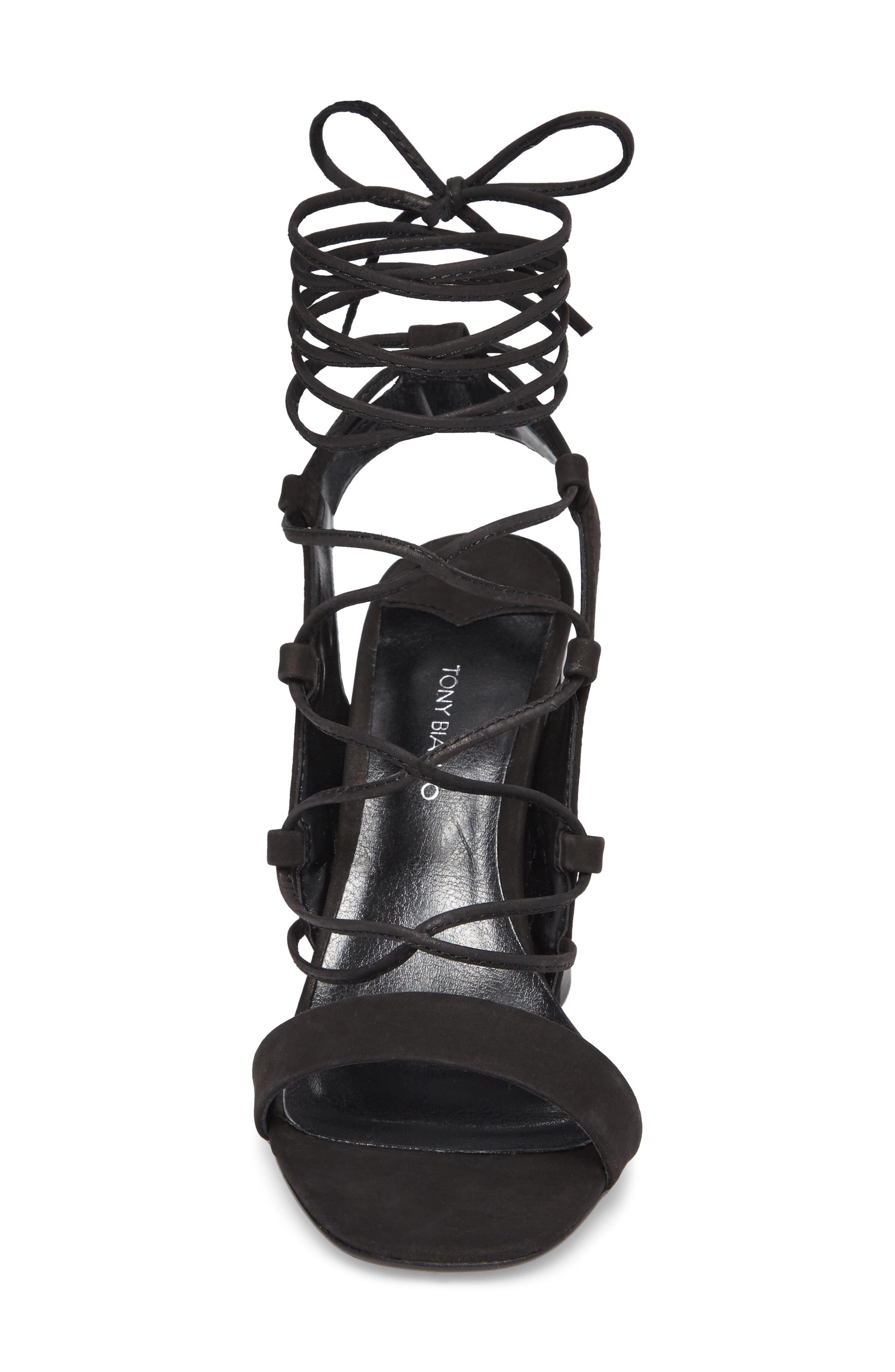 Dani Ghillie Flared Heel Sandal,                             Alternate thumbnail 4, color,                             Black Phoenix Nubuck Leather