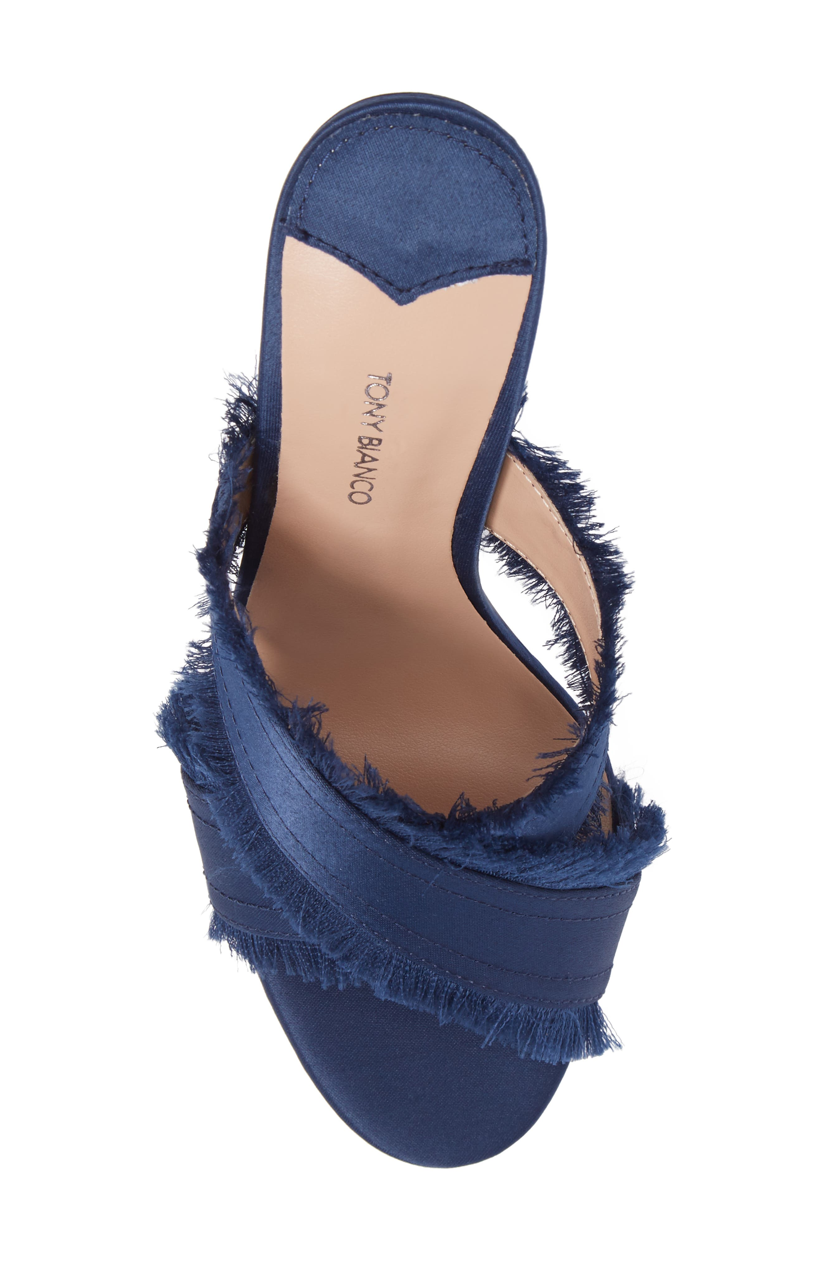 Klay Fringed Cross Strap Mule,                             Alternate thumbnail 5, color,                             Navy Luxe Satin