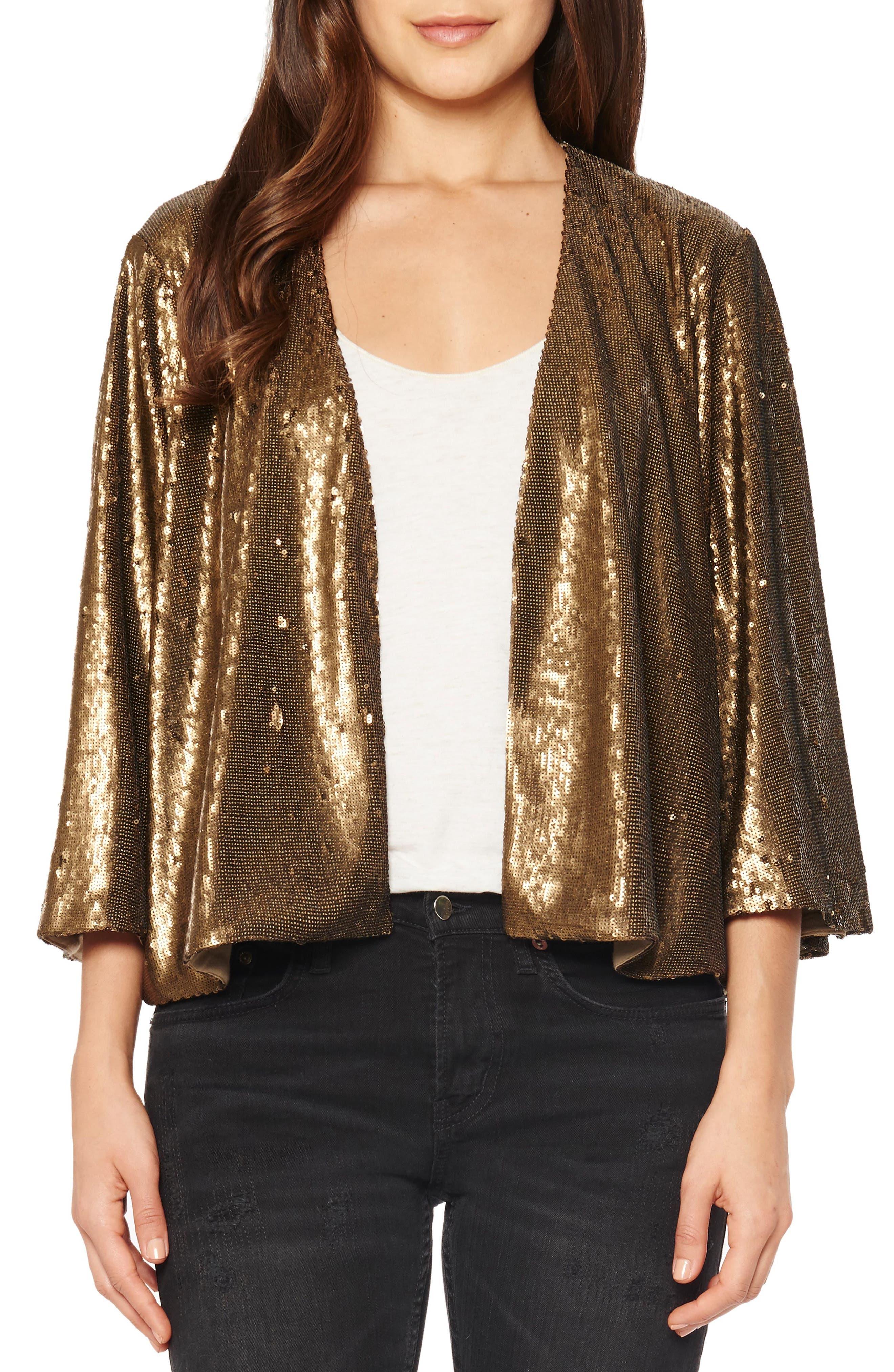 Sequin Crop Jacket,                         Main,                         color, Bronze