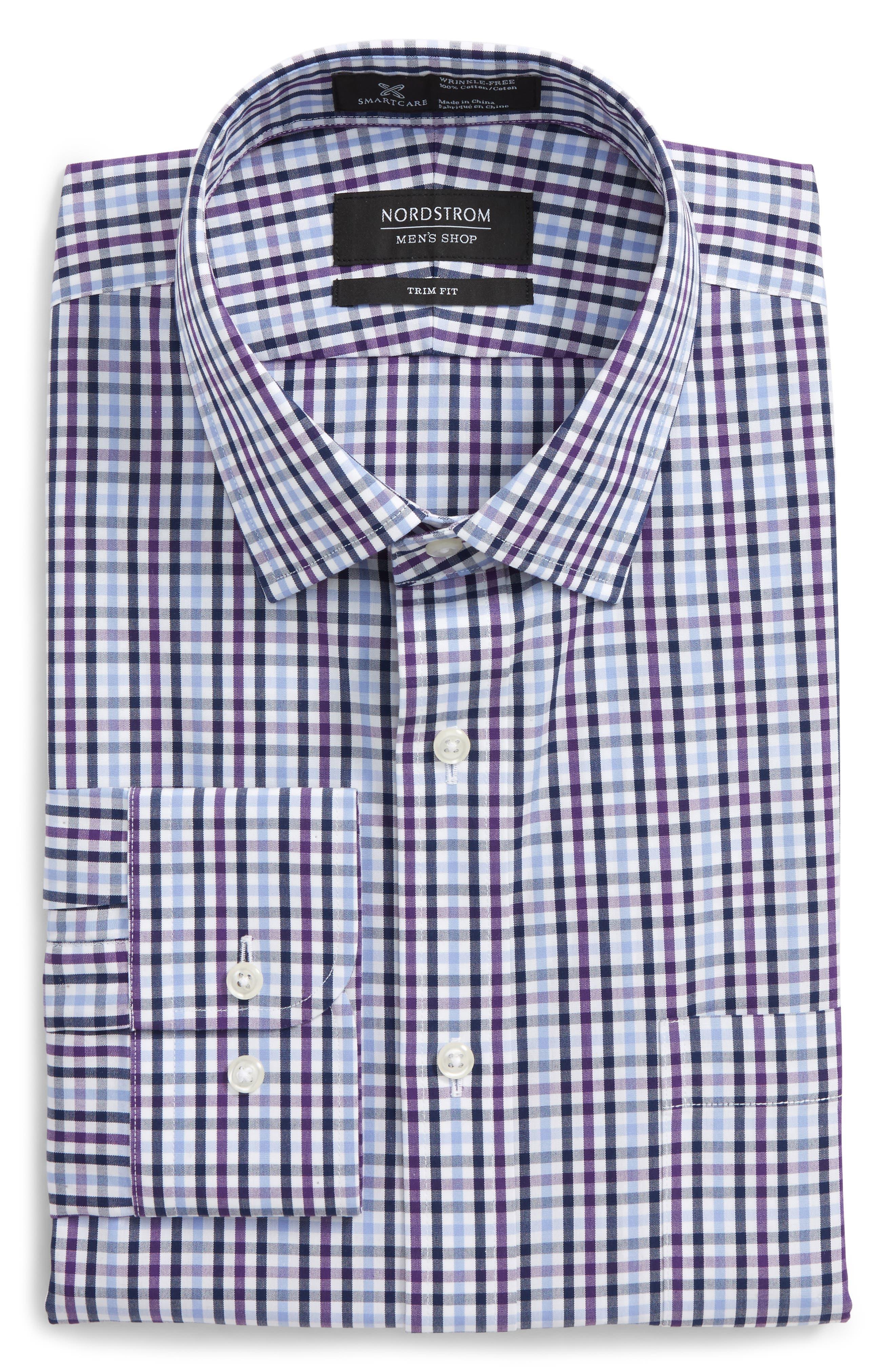 Smartcare<sup>™</sup> Trim Fit Check Dress Shirt,                             Main thumbnail 1, color,                             Purple Pansy