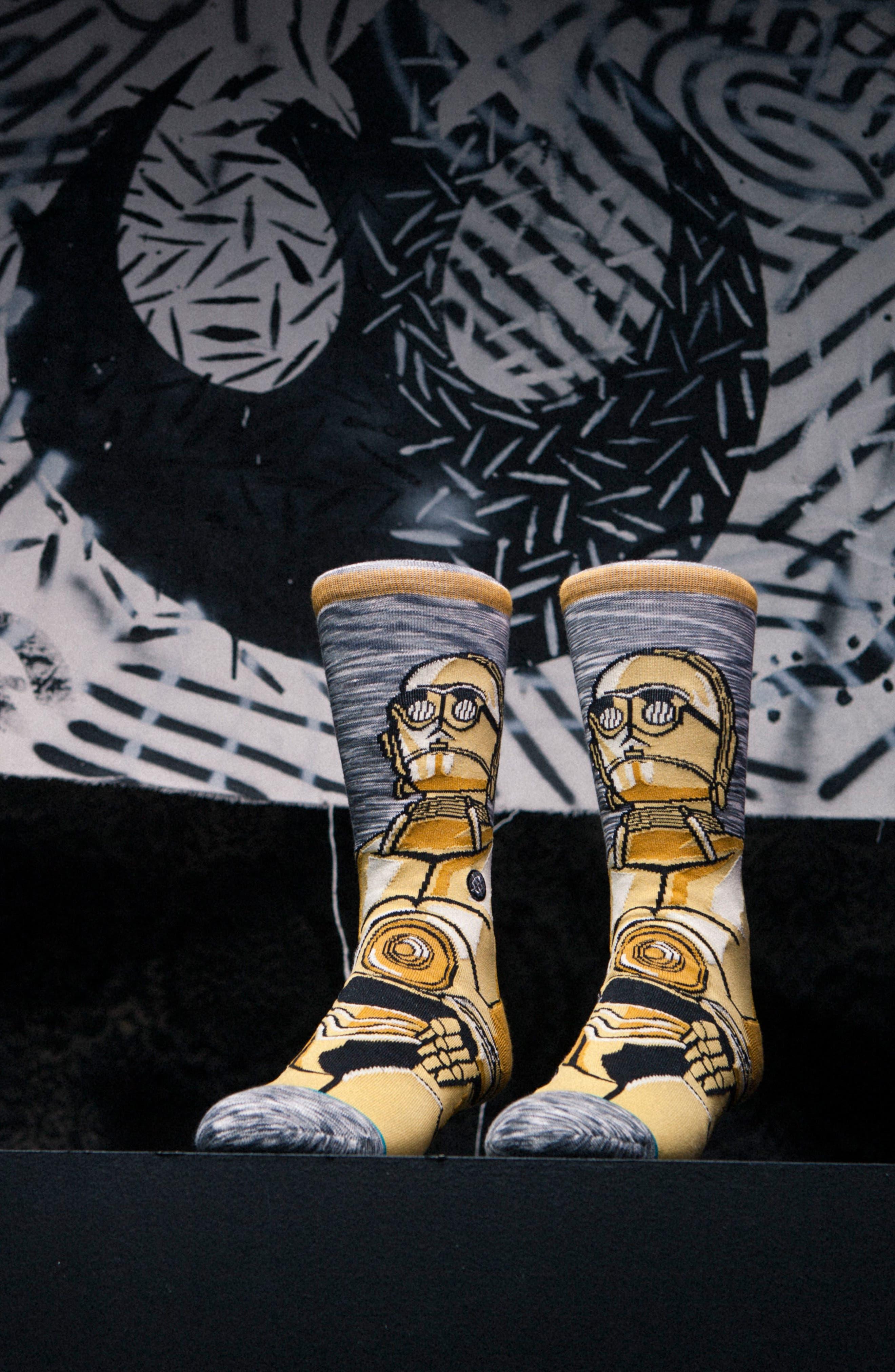 Star Wars<sup>™</sup> - Sidekick 3-Pack Socks,                             Alternate thumbnail 4, color,                             Grey Multi