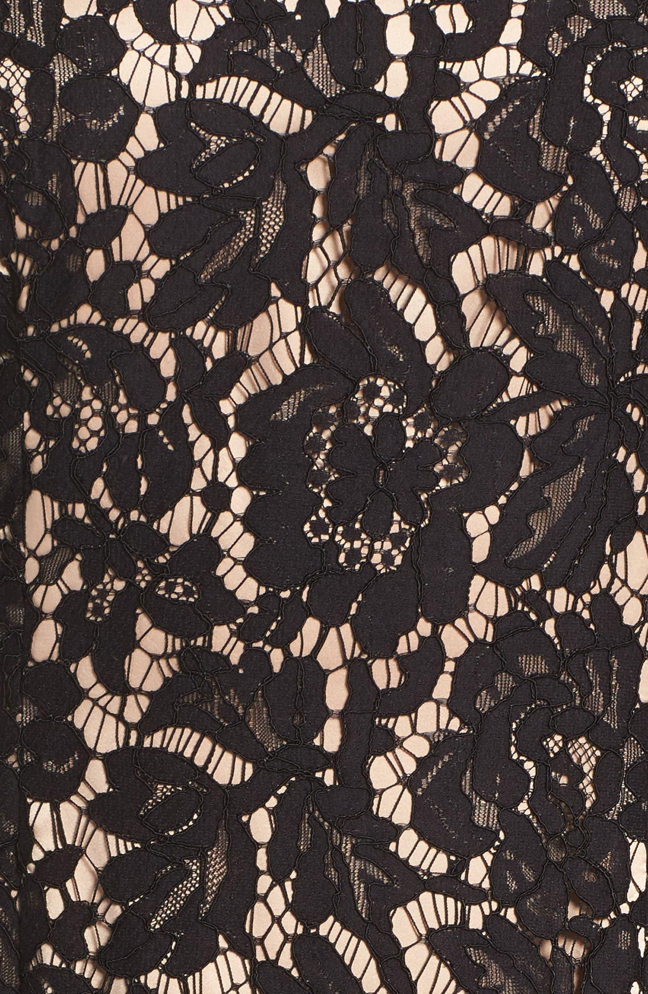 Off the Shoulder Lace Dress,                             Alternate thumbnail 5, color,                             Black/ Nude Combo