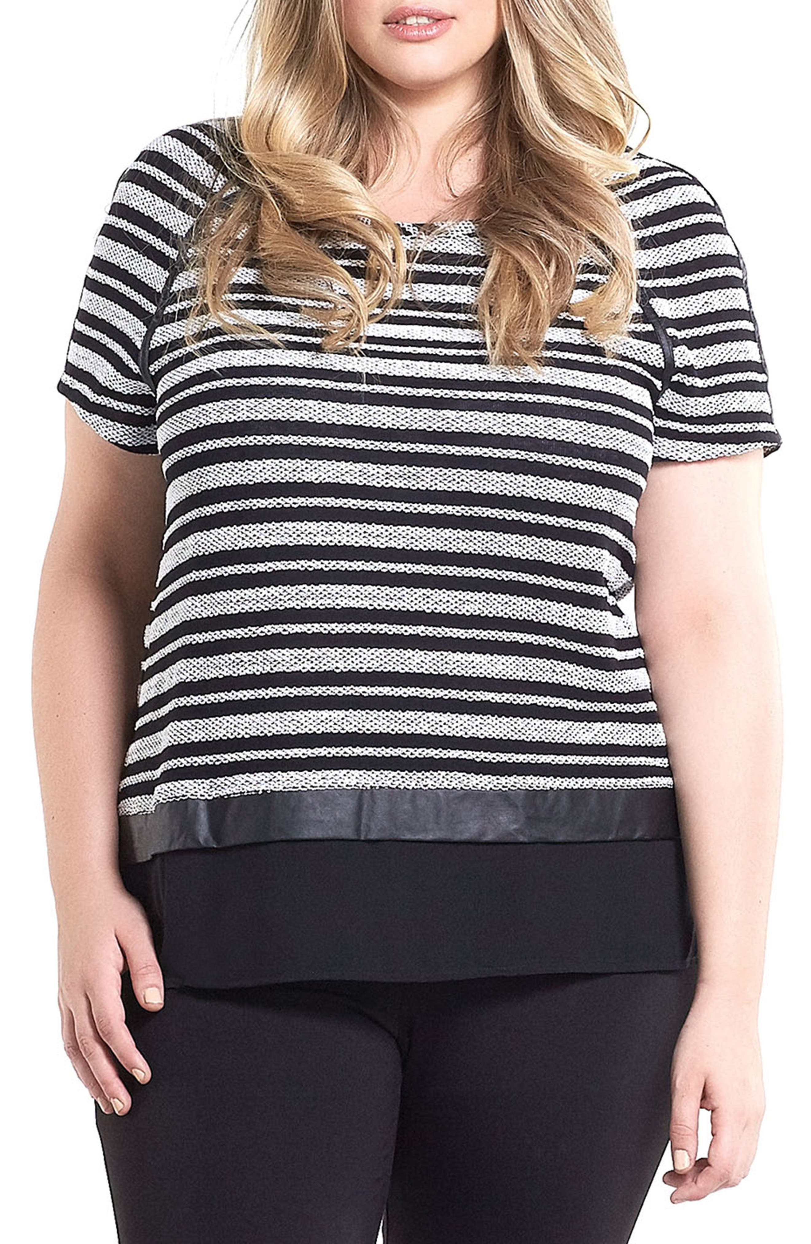 Nina Stripe Mixed Media Top,                         Main,                         color, Black/ White Stripe