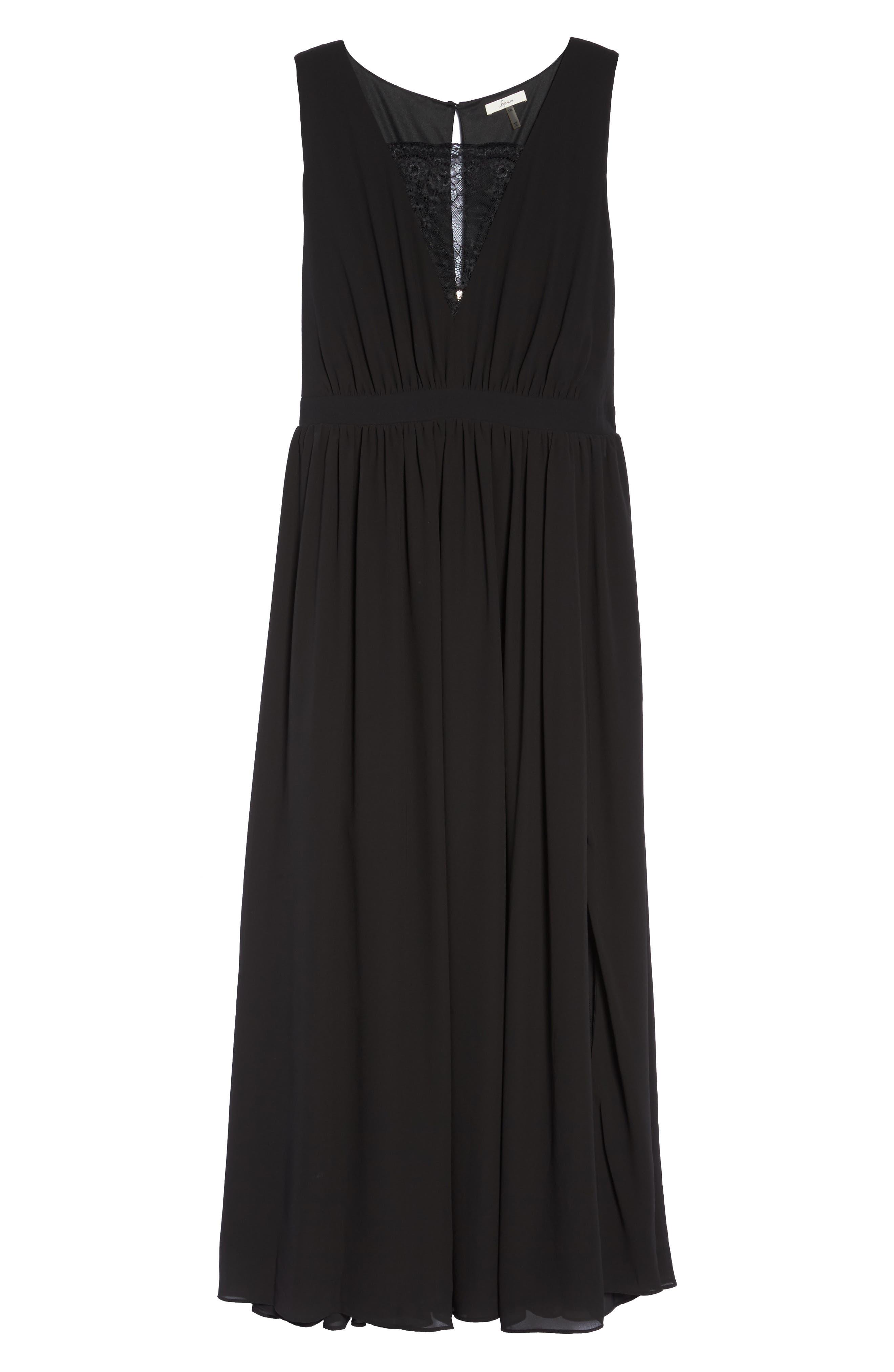 Lace Inset Maxi Dress,                             Alternate thumbnail 6, color,                             Black