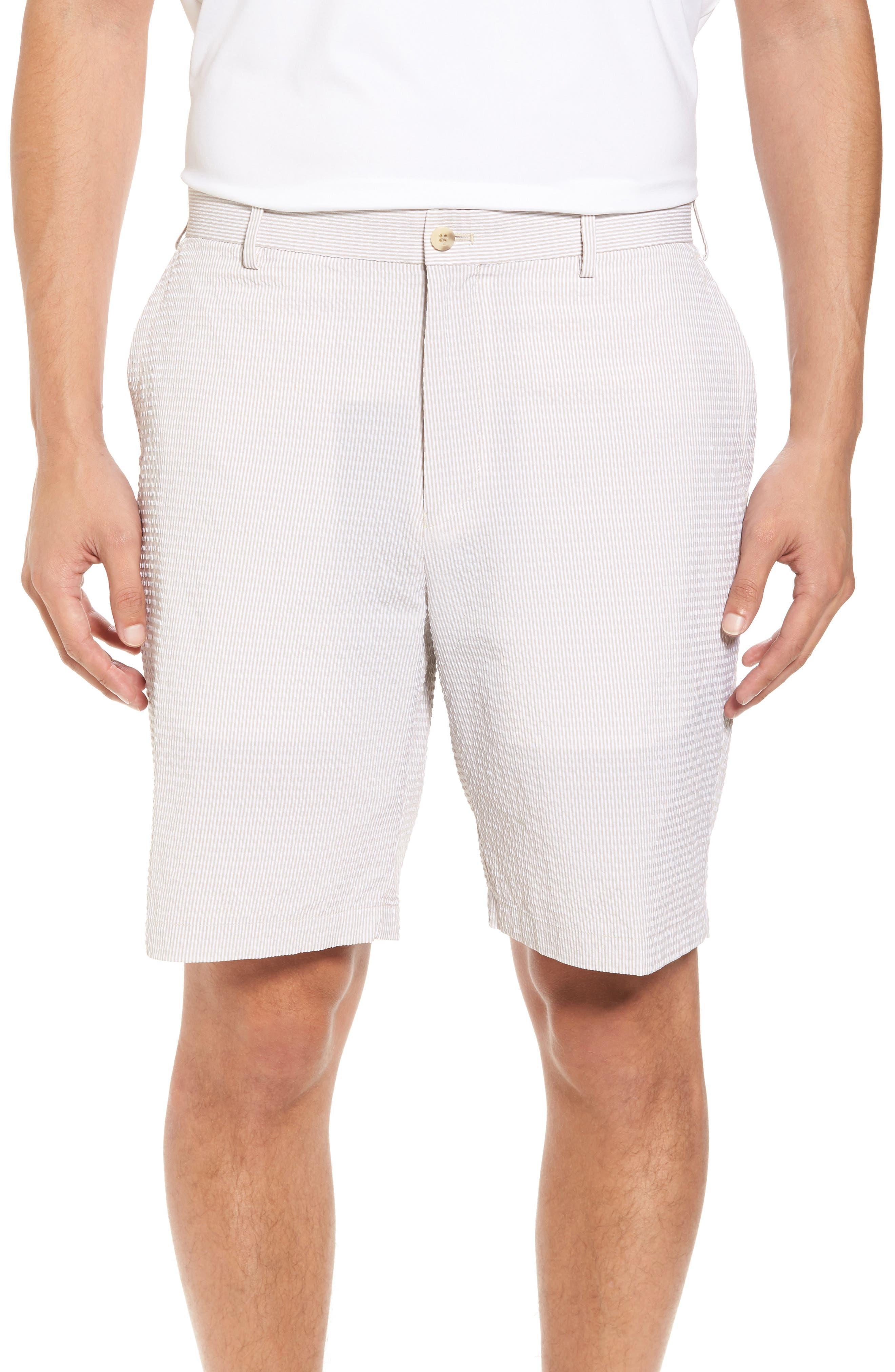 Apex Pinstripe Seersucker Shorts,                             Main thumbnail 1, color,                             Khaki