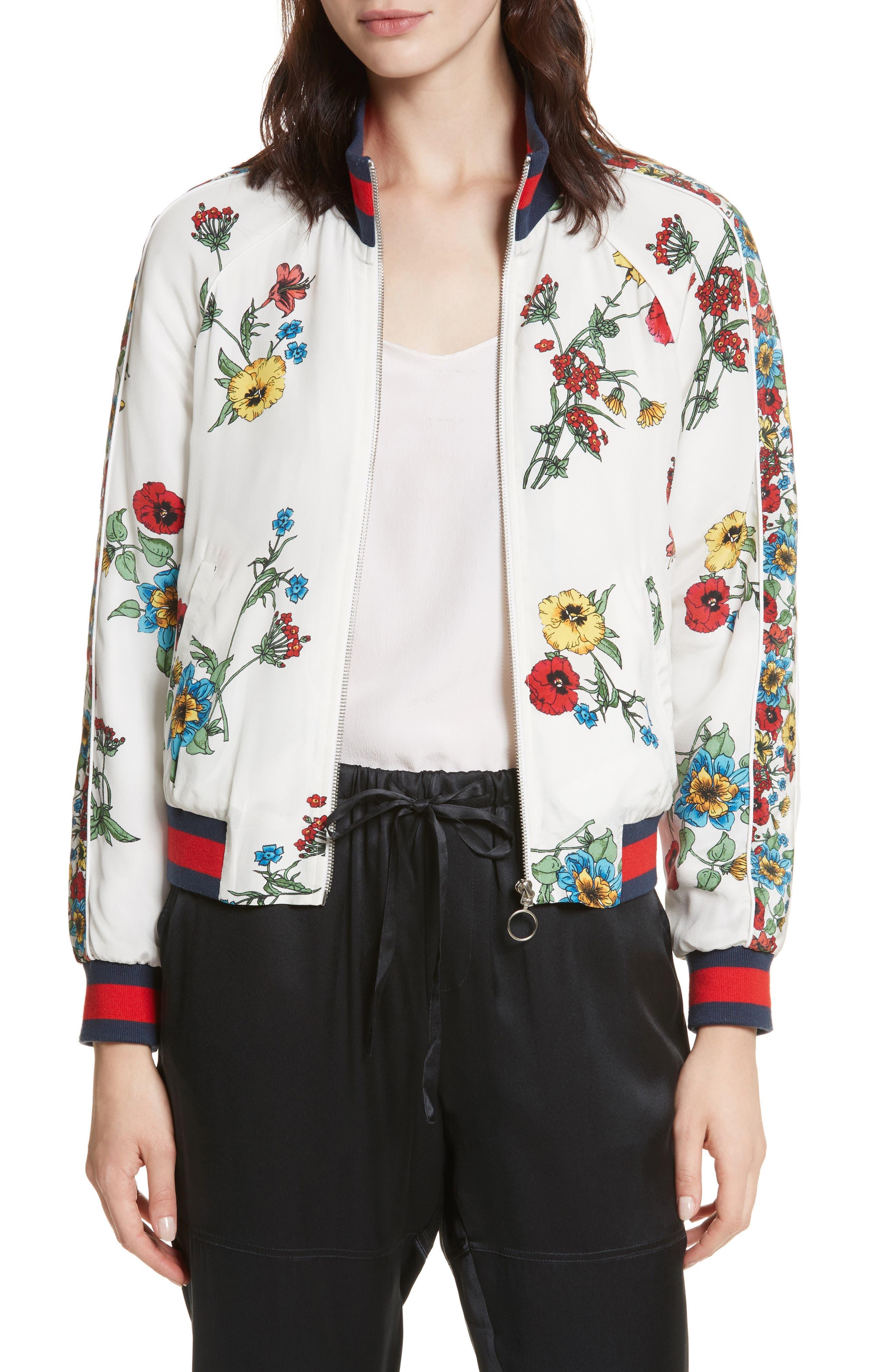 Avariella Silk Bomber Jacket,                         Main,                         color, Porcelain