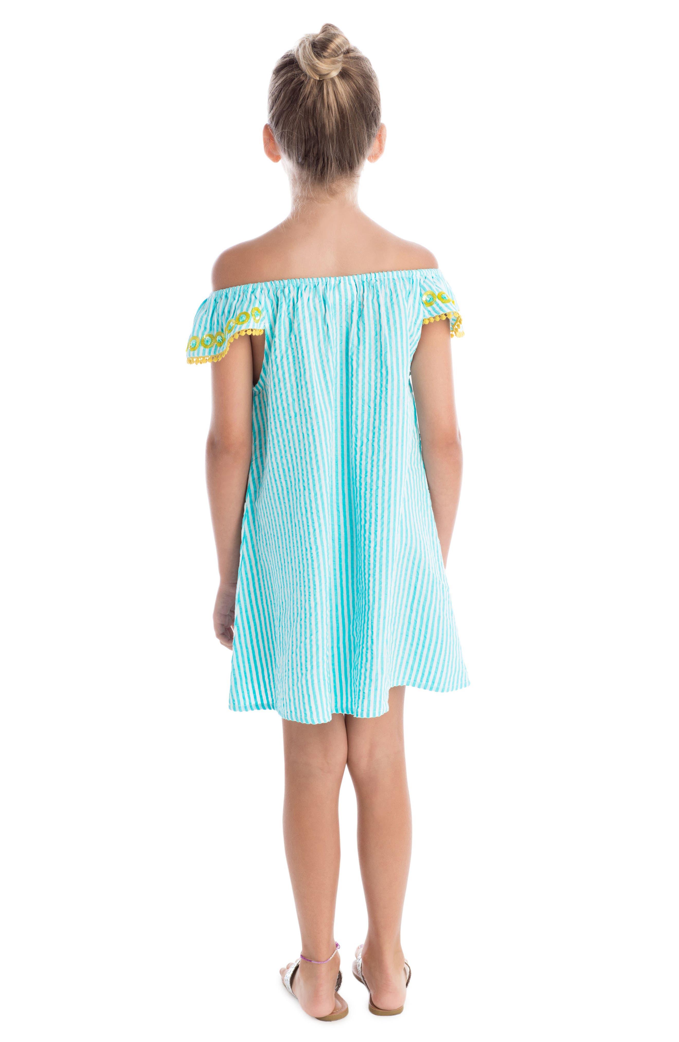 Daisy Flutter Sleeve Dress,                             Alternate thumbnail 3, color,                             Turquoise