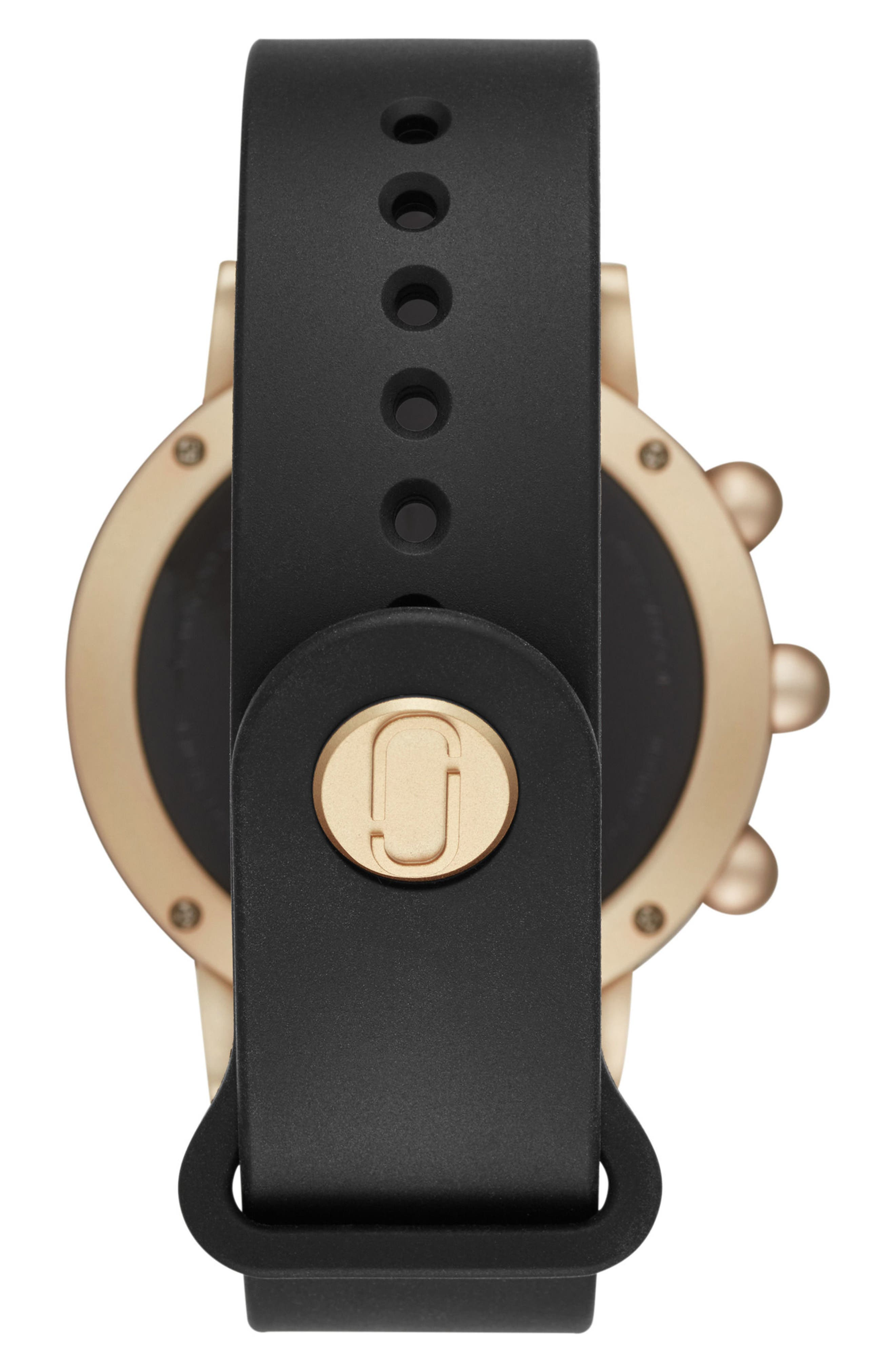 Riley Hybrid Rubber Strap Watch, 42mm,                             Alternate thumbnail 5, color,                             Black/ Gold