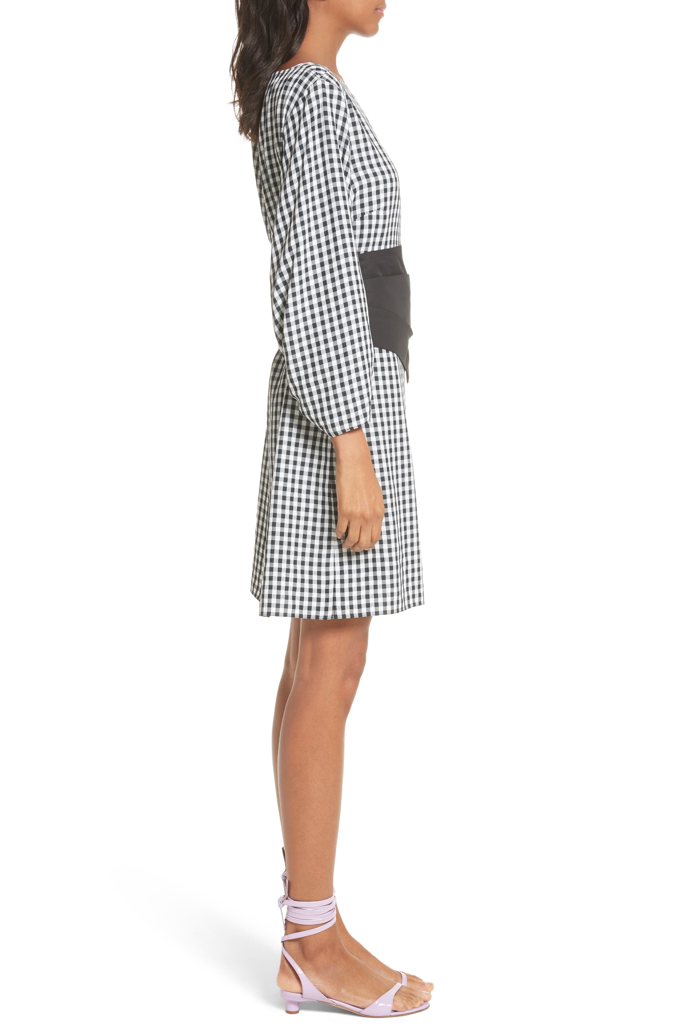 Gingham Corset Dress,                             Alternate thumbnail 3, color,                             Black Multi