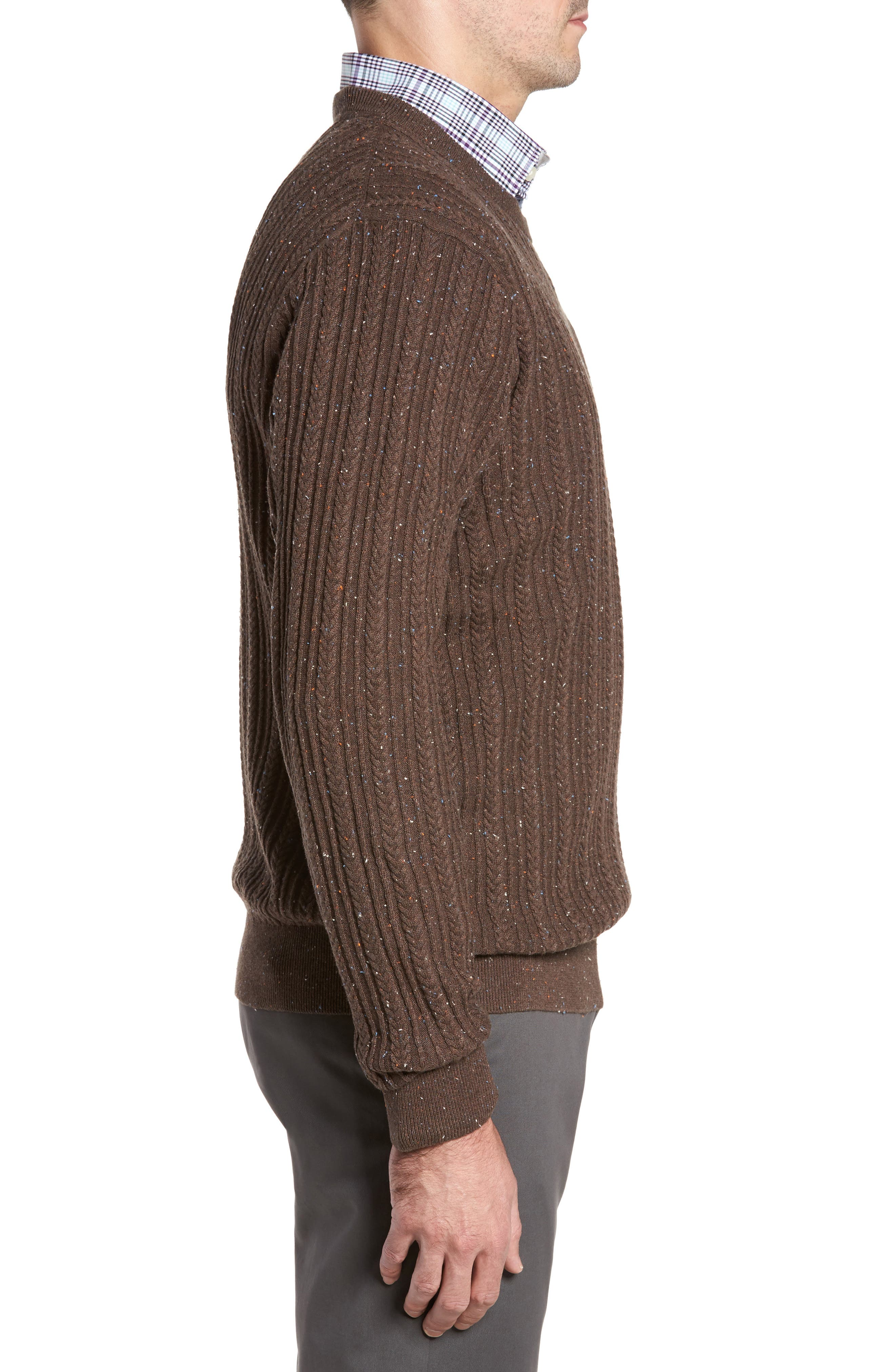 Carlton Crewneck Sweater,                             Alternate thumbnail 3, color,                             Twig