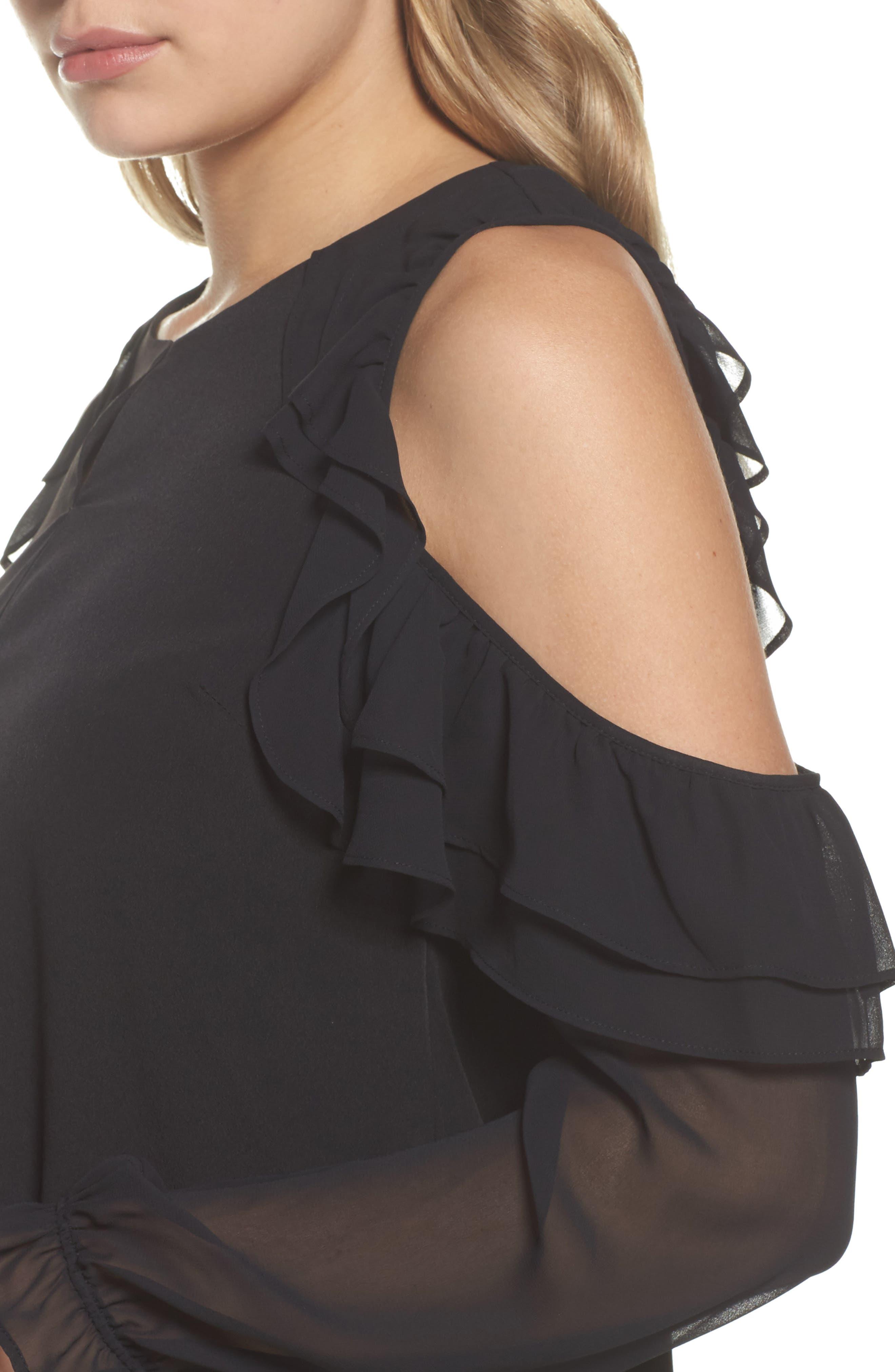 Isabella Cold Shoulder Shift Dress,                             Alternate thumbnail 4, color,                             Rich Black