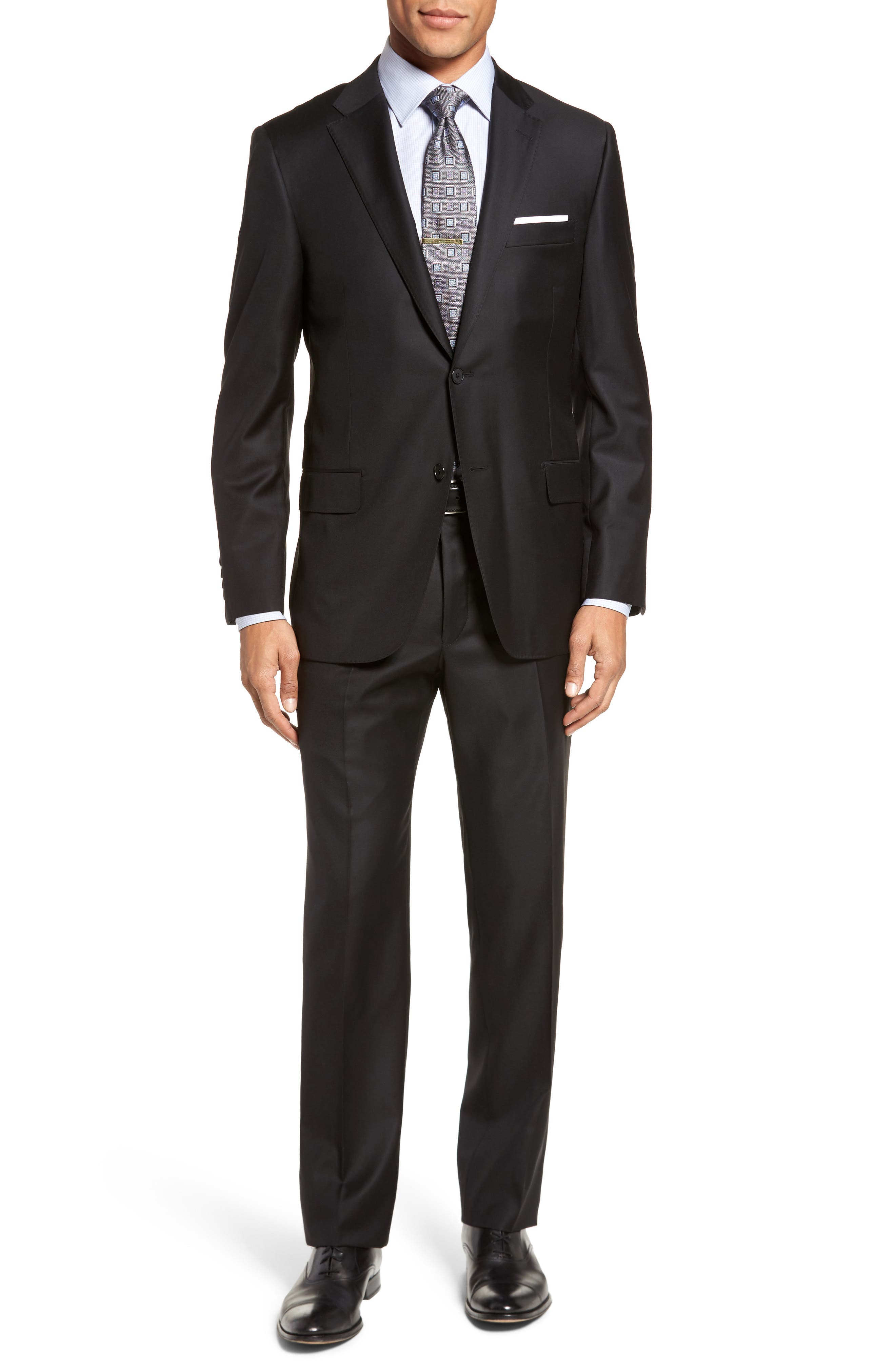 Classic B Fit Solid Loro Piana Wool Suit,                             Main thumbnail 1, color,                             Black Solid