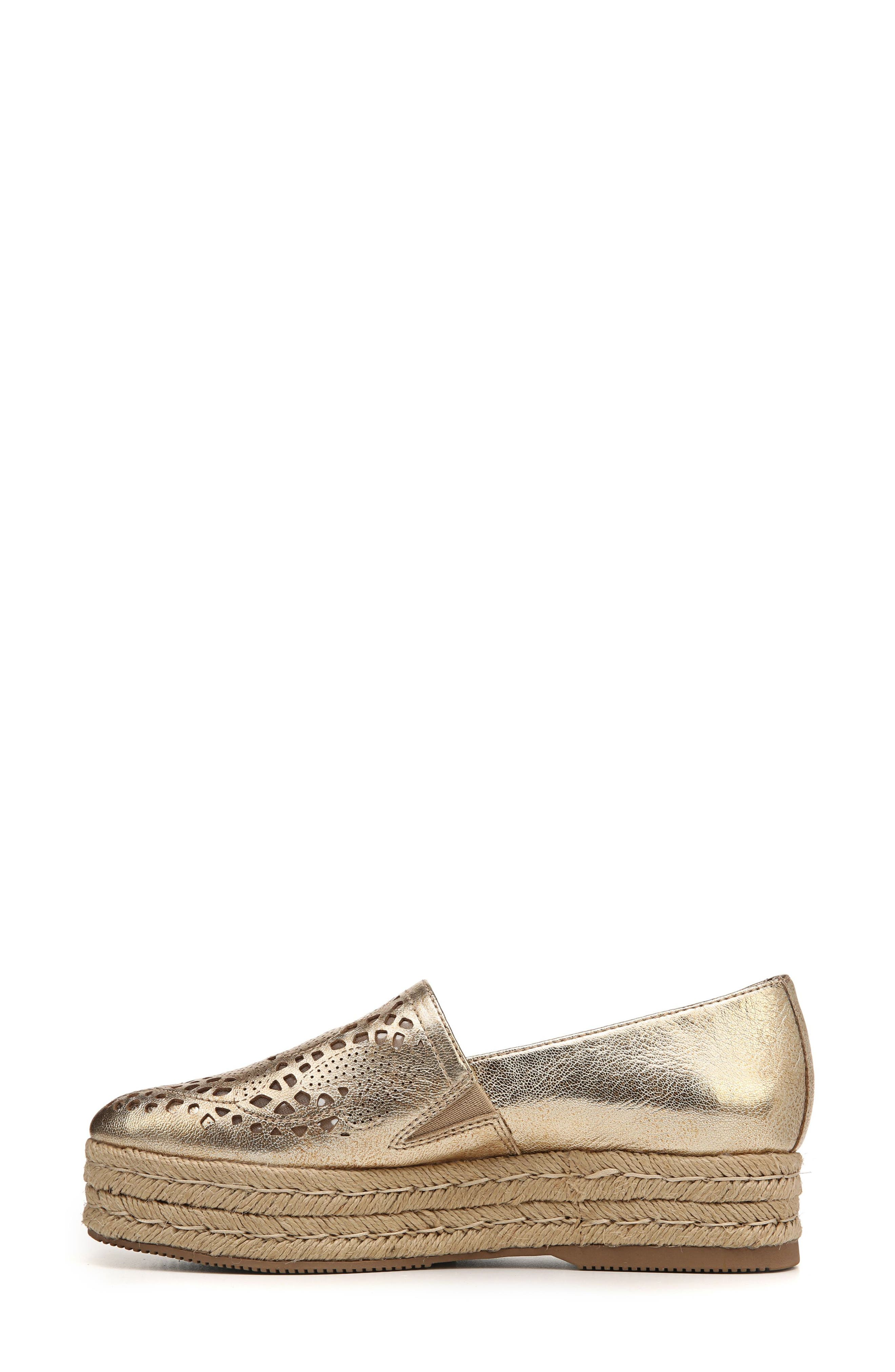 Thea Perforated Platform Espadrille,                             Alternate thumbnail 4, color,                             Platino Leather